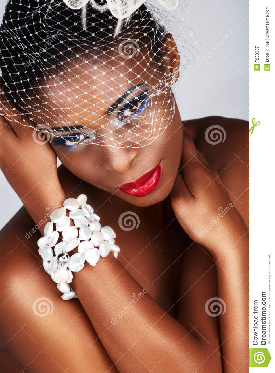 African woman with white net
