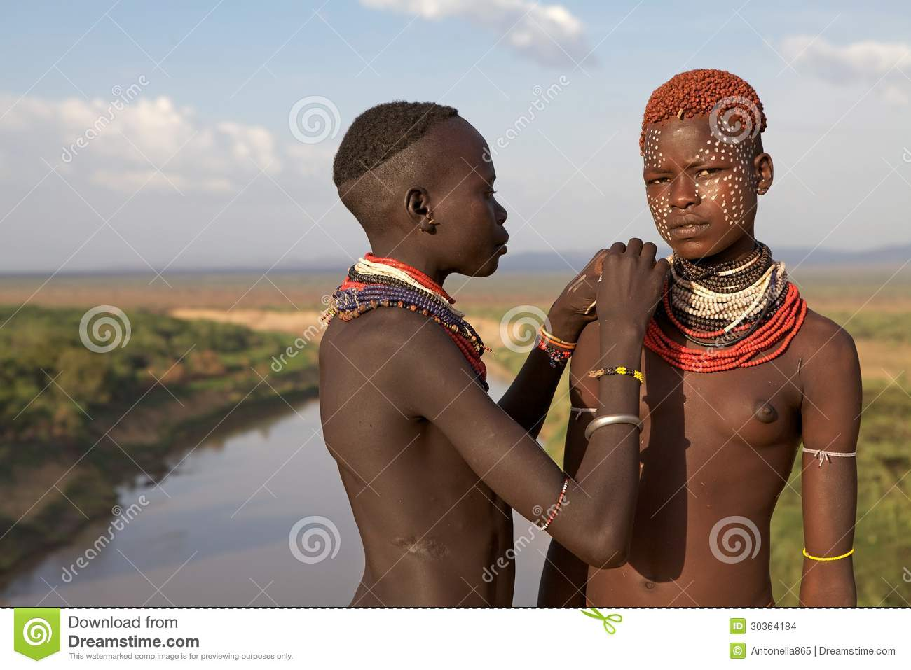 African women of the Karo ethnic group with traditional body paint and ...