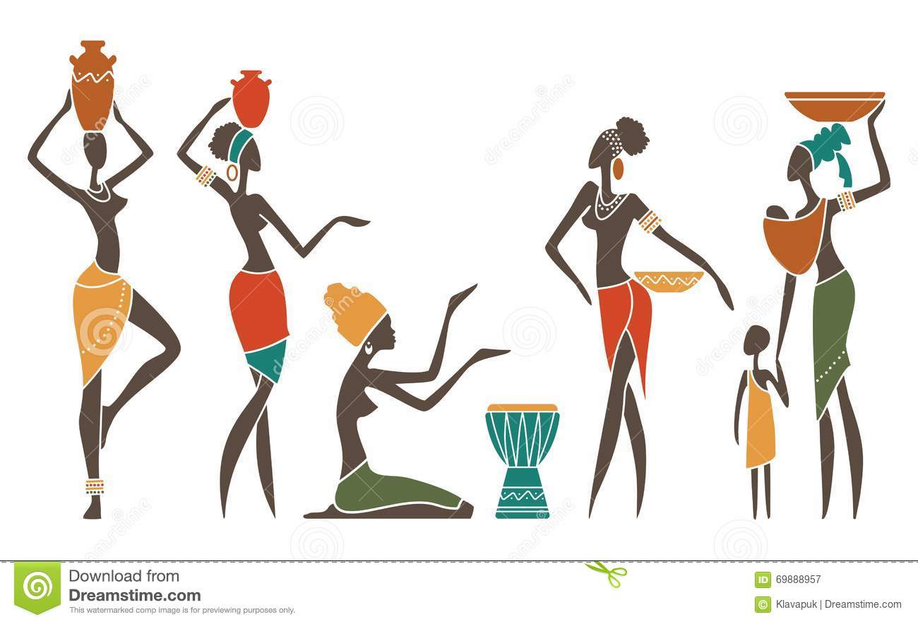 Jungle Themed Wall Stickers African Women In Traditional Clothes Stock Vector