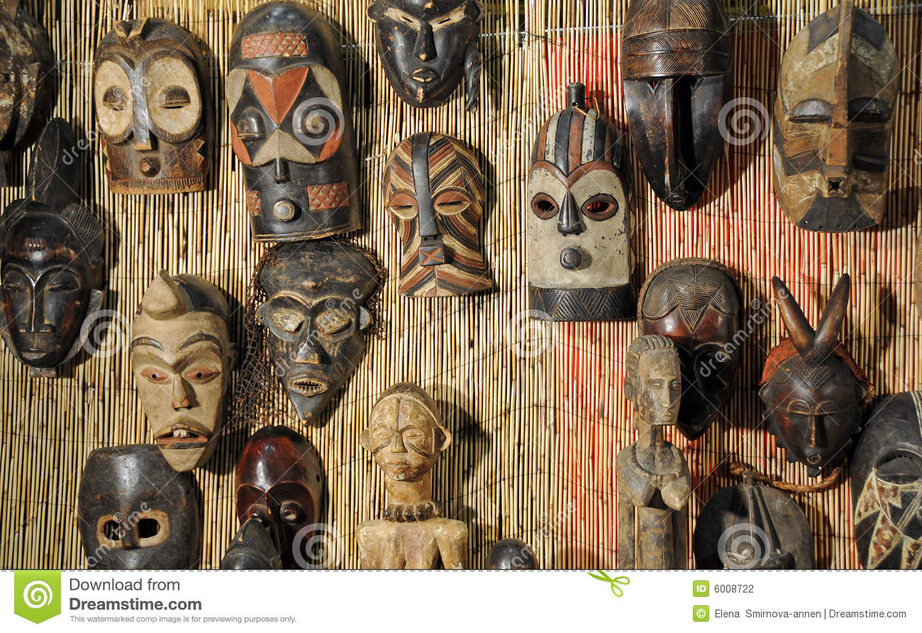 African Wooden Masks Stock Photo Image Of Tribe Variety
