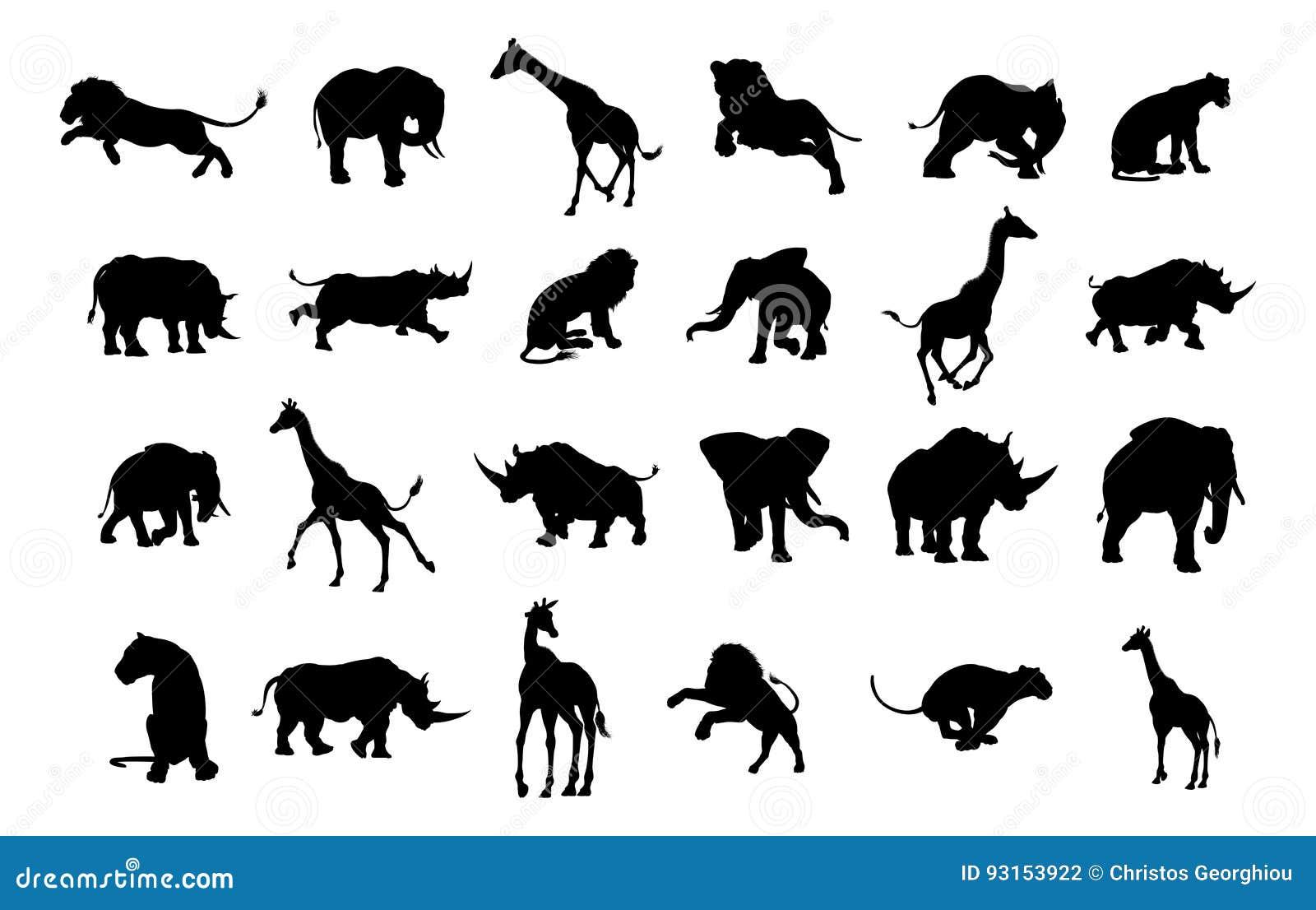 Africano Safari Animal Silhouettes