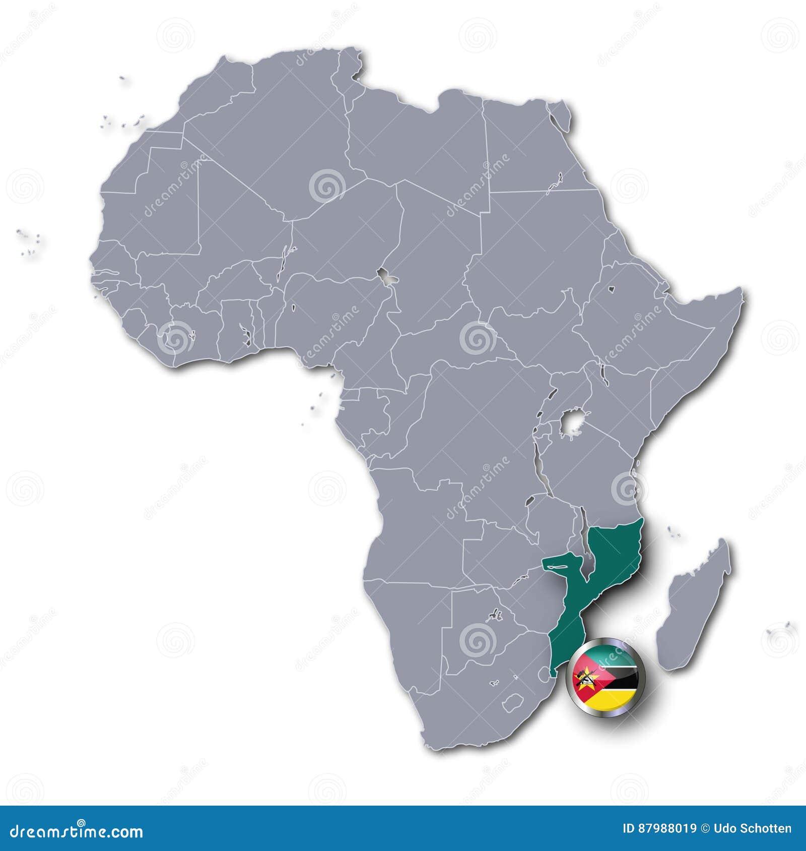 Mosambik Karte.Afrika Karte Mit Mosambik Stock Abbildung Illustration Von Ikone