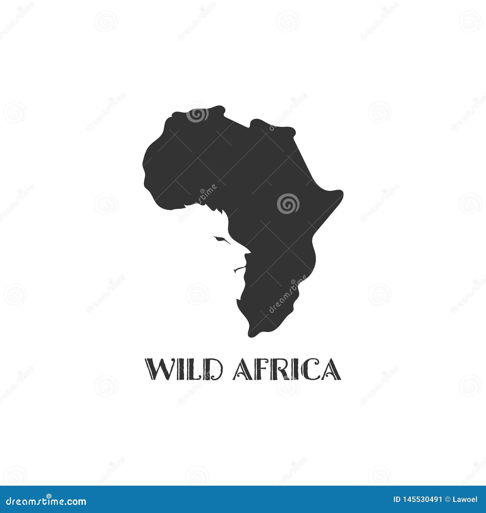Afrika-Kartenschwarzschattenbild-Landgrenzen auf wei?em Hintergrund Kontur des Zustandes mit L?wegesicht auf negativem Raum Vekto