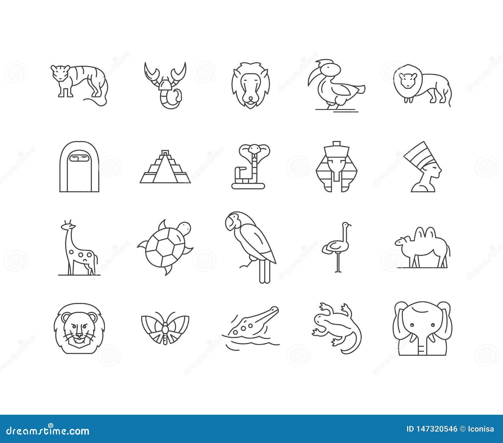Afrika linje symboler, tecken, vektoruppsättning, översiktsillustrationbegrepp