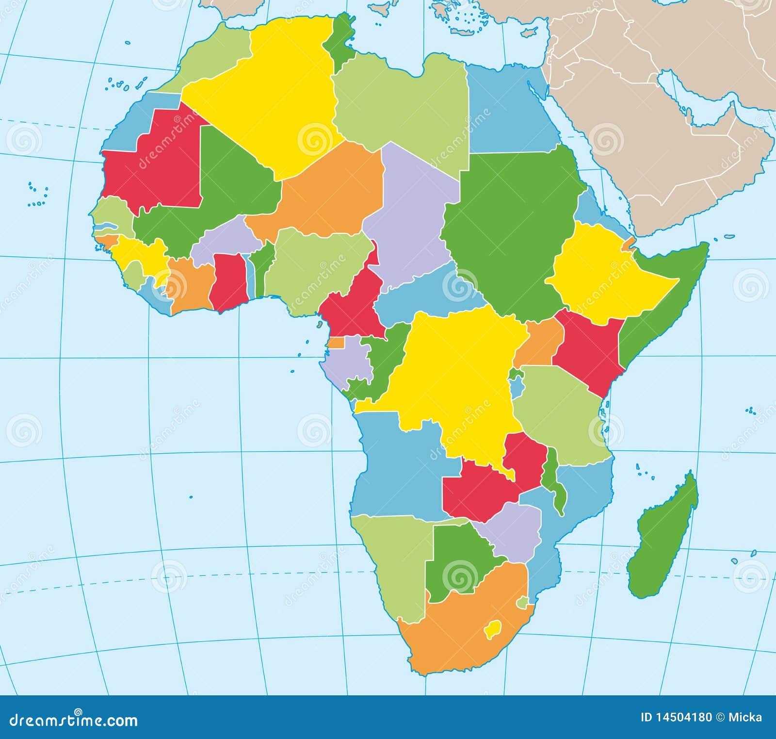 Afrika Politische Karte Vektor Abbildung Illustration Von