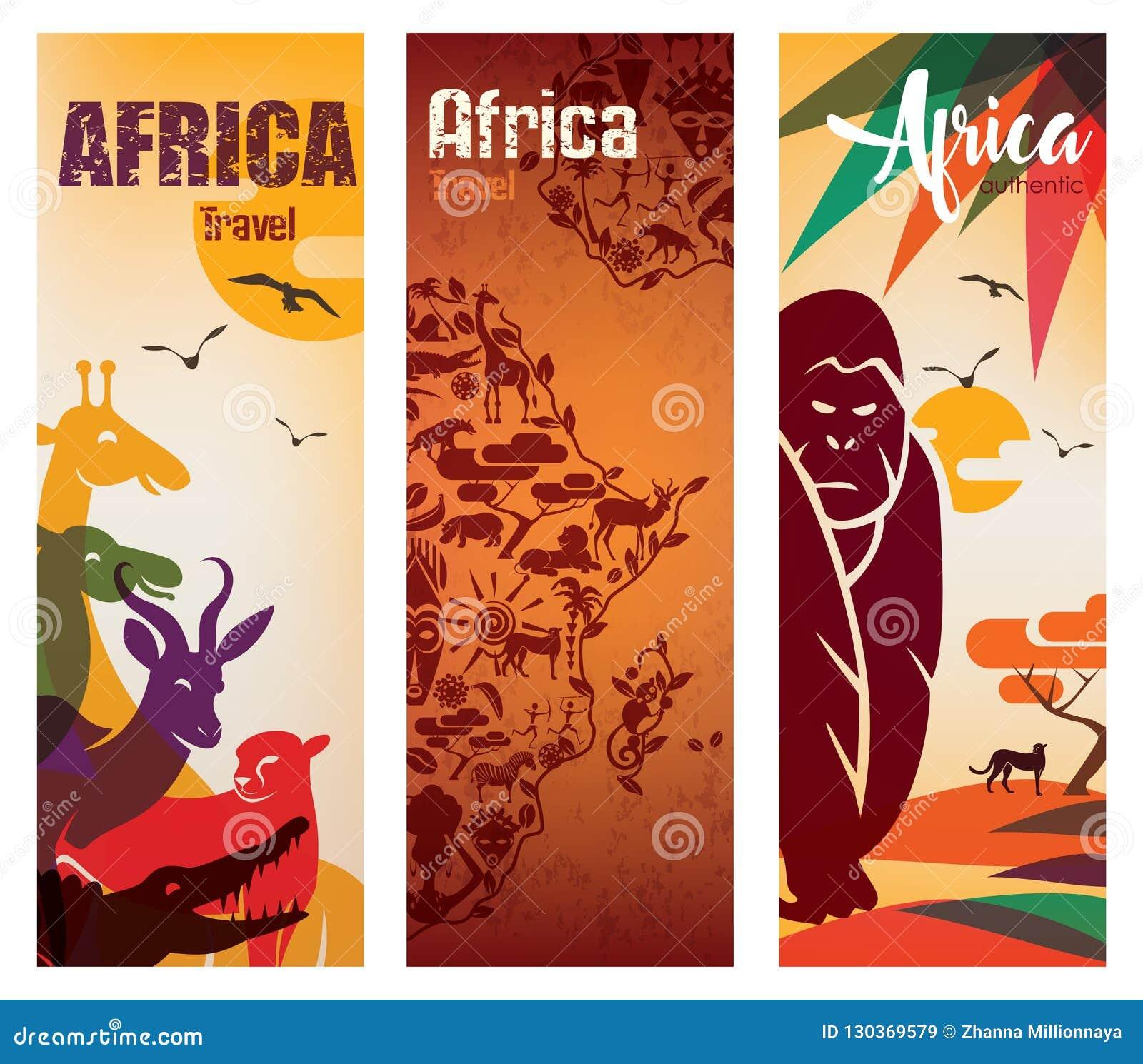 Afrika-Reisehintergrundsatz der Fliegerschablone