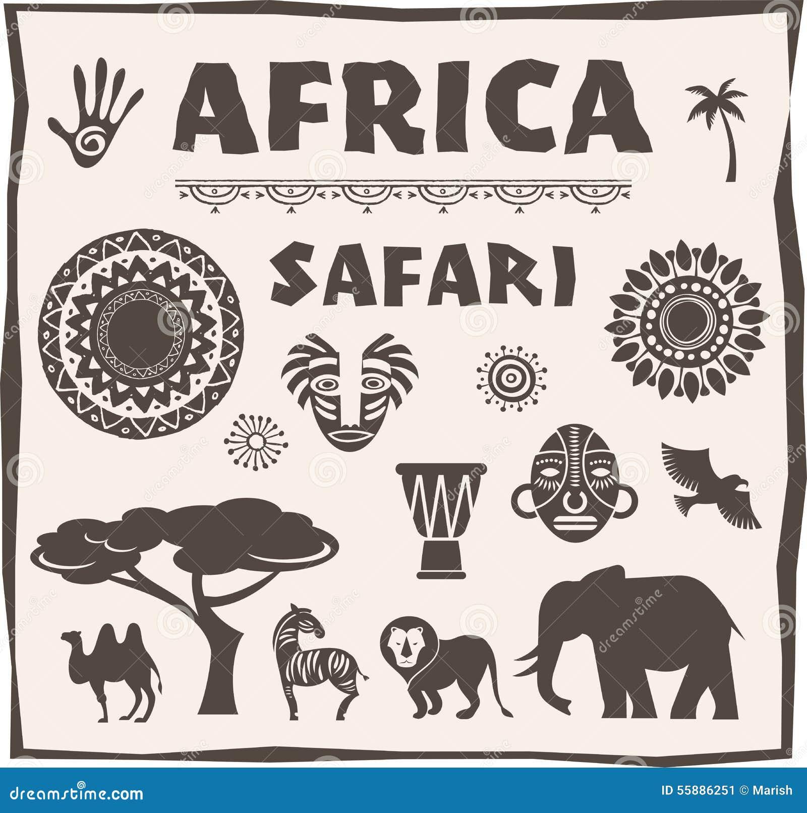 Afrika-, Safariikone und Elementsatz