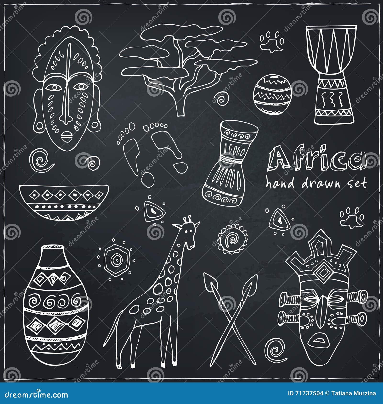 Afrika skissar symbolsuppsättningen