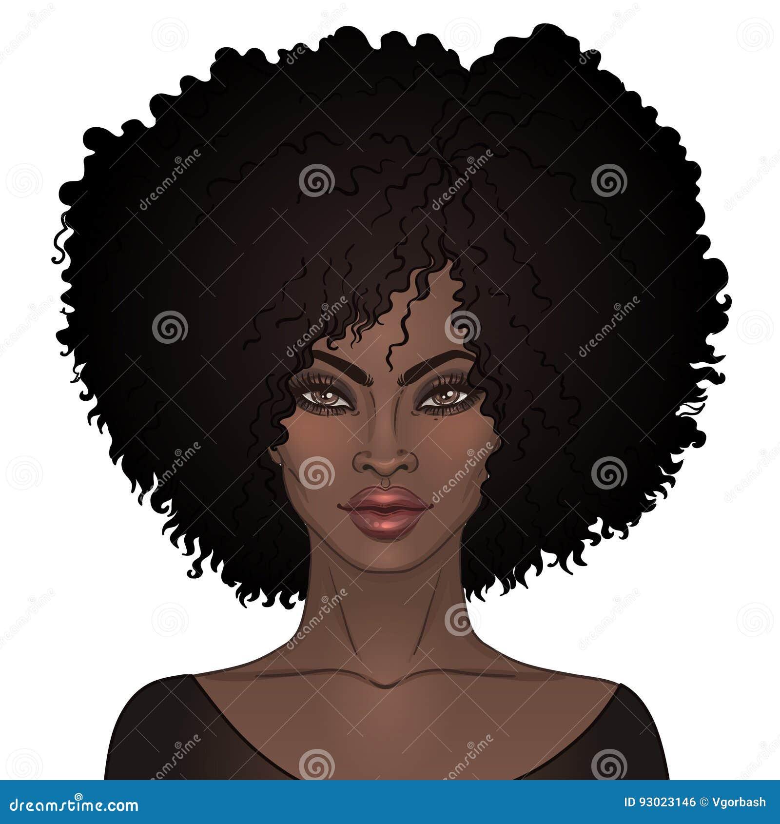 Afrikaans Amerikaans mooi meisje Vectorillustratie van Zwarte