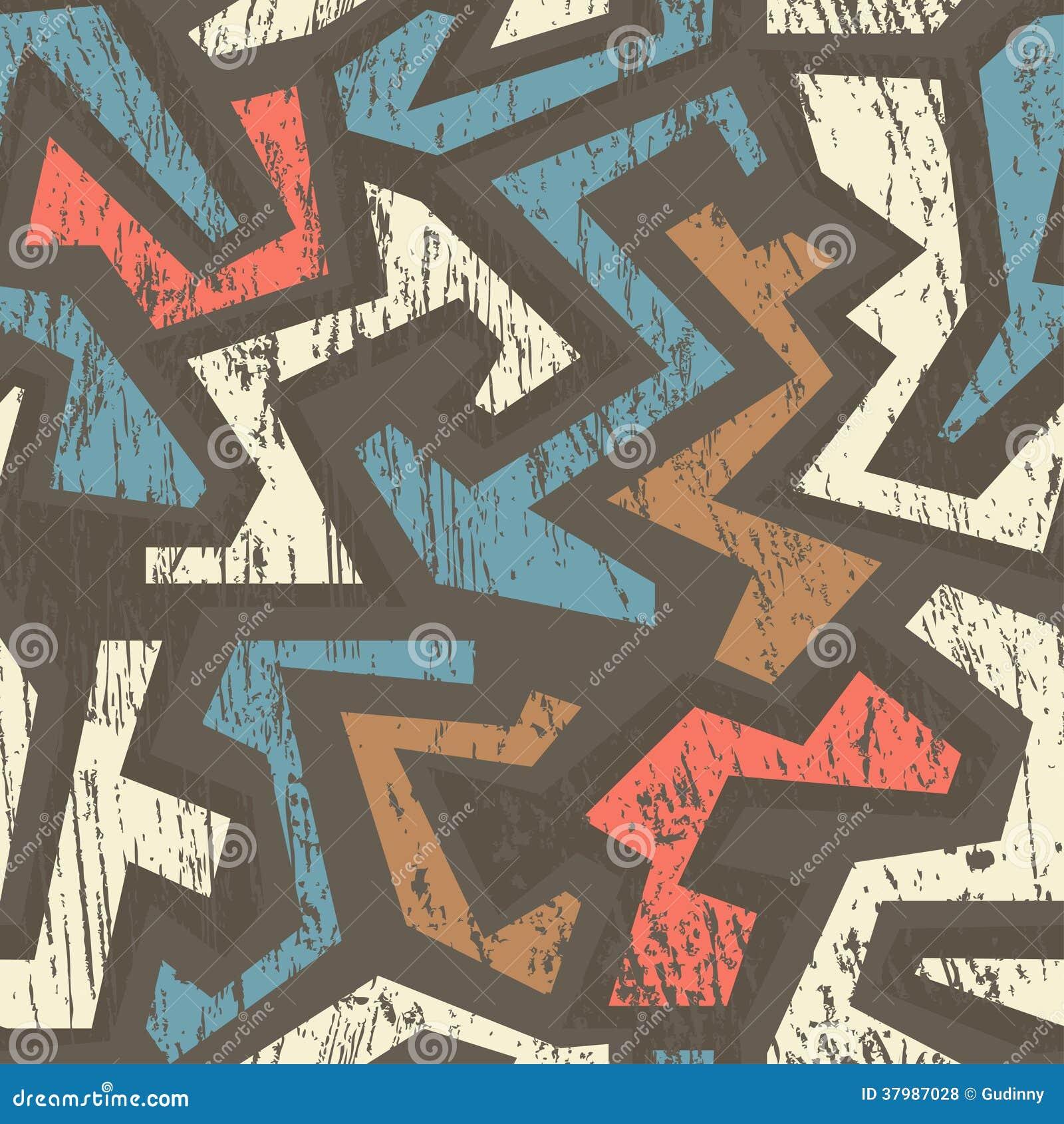 Afrikaans geometrisch naadloos patroon met houten effect