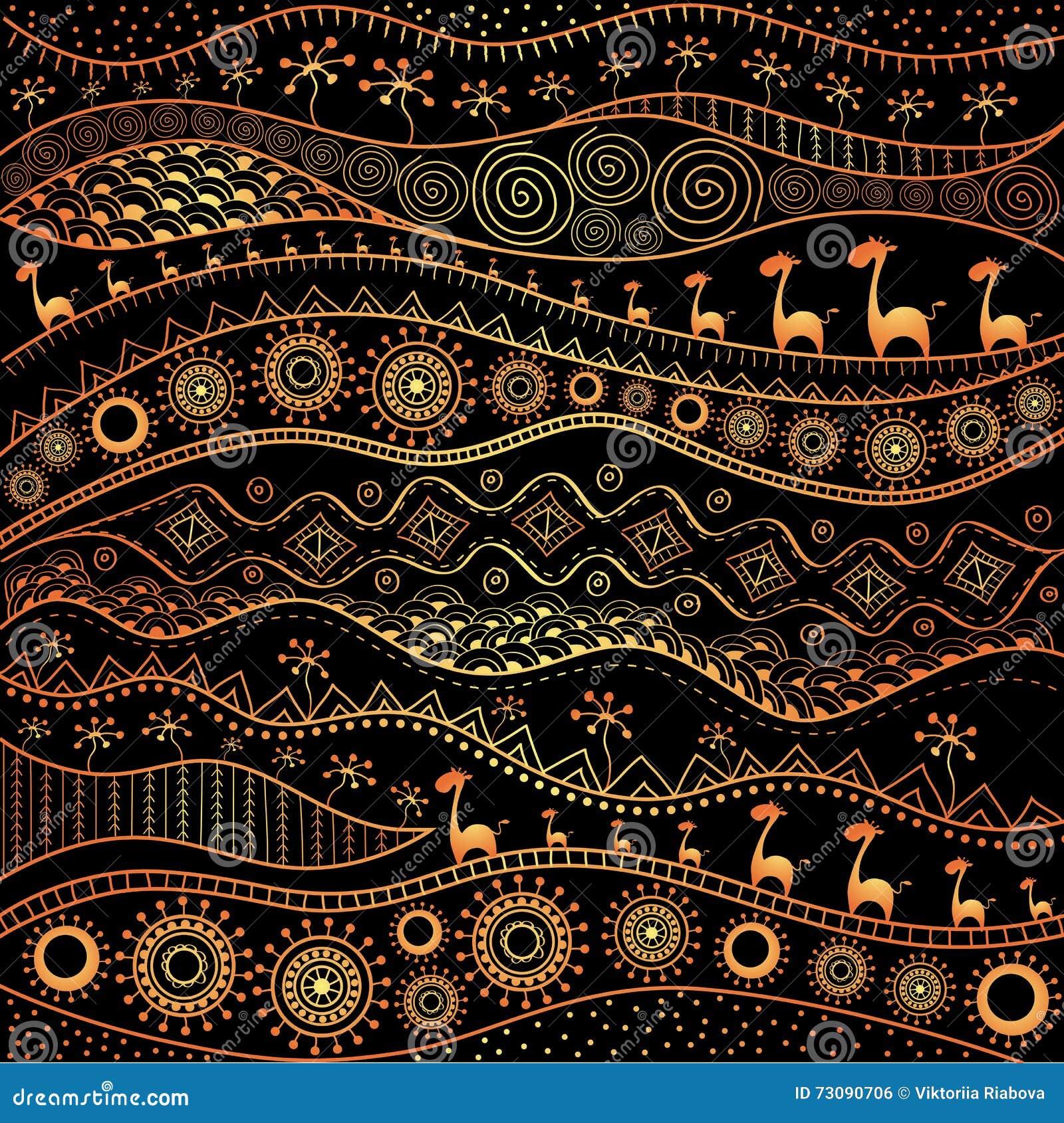 Afrikaans Hand Drawn Ethnopatroon Stammenachtergrond Het Kan Voor Behang Web Pagina En Anderen Worden Gebruikt Vector