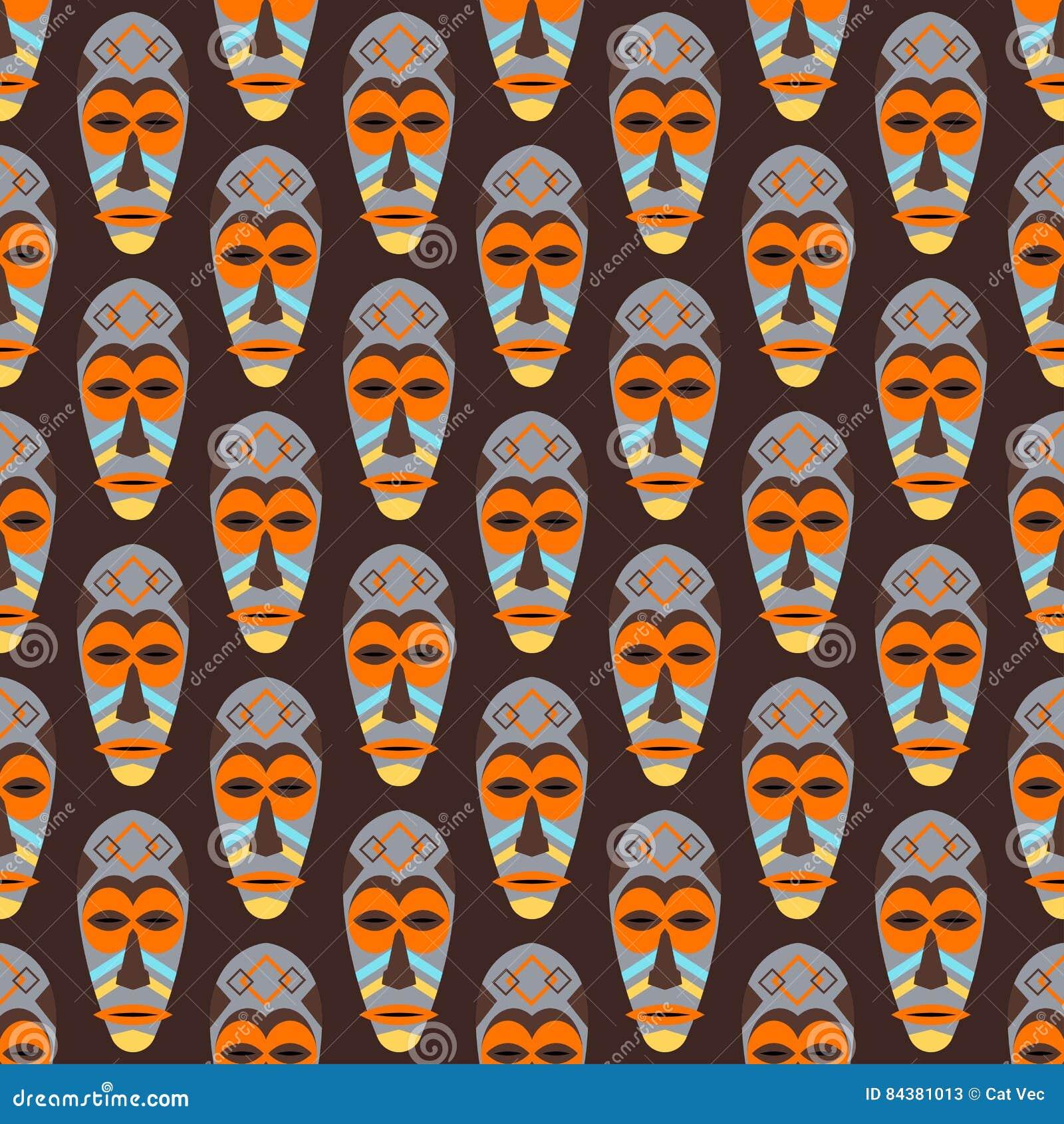 Afrikaans masker vector naadloos patroon