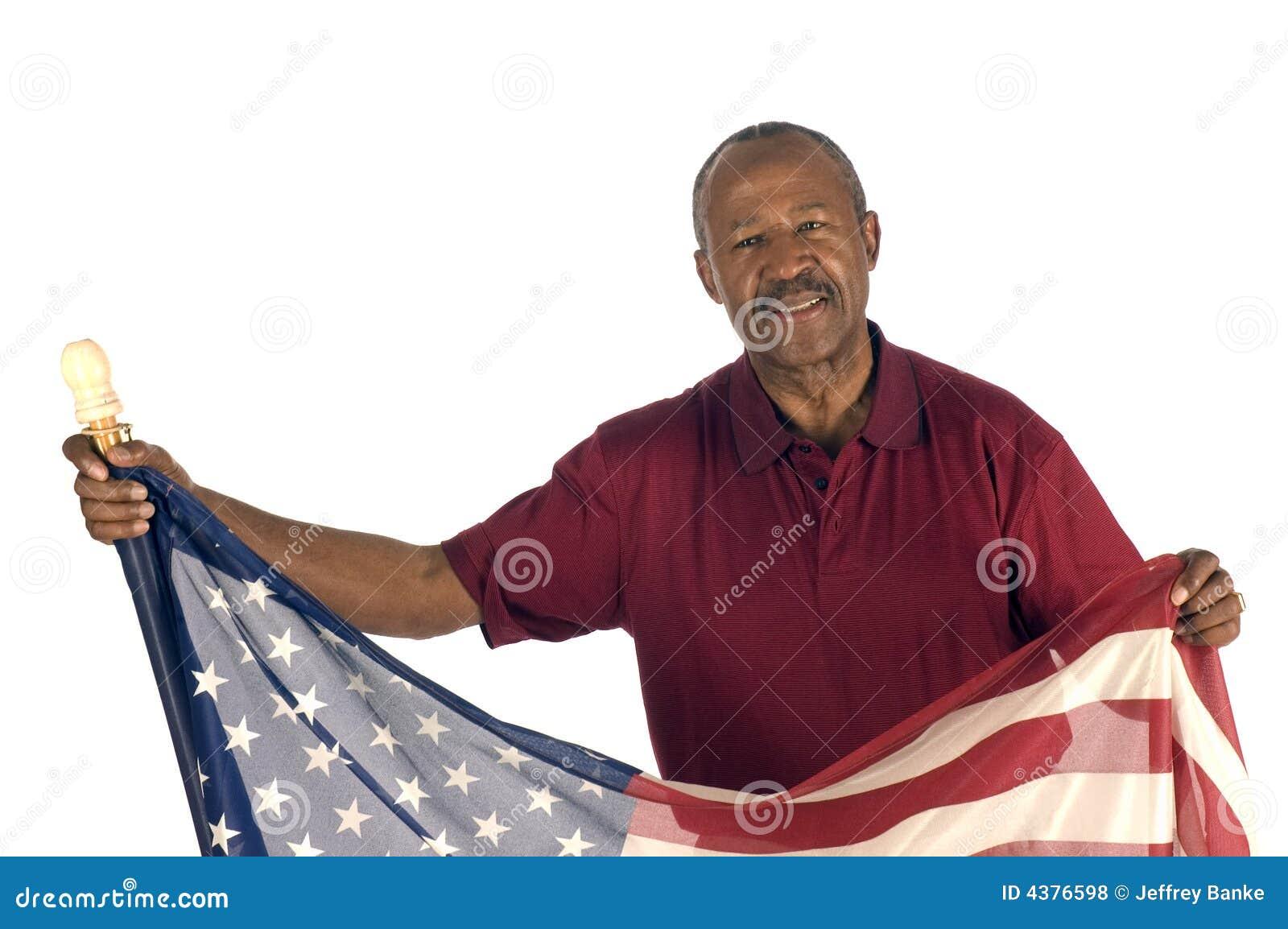 Afrikaanse Amerikaanse Patriot met vlag
