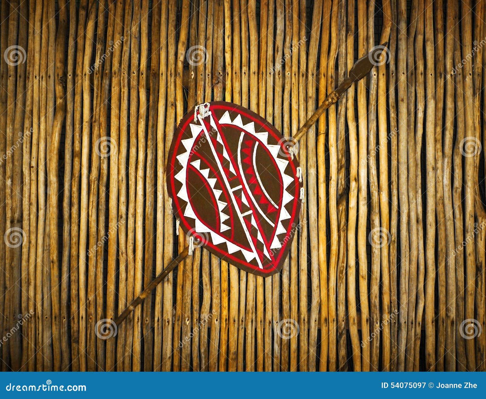 Afrikaanse Etnische stamschild & spear