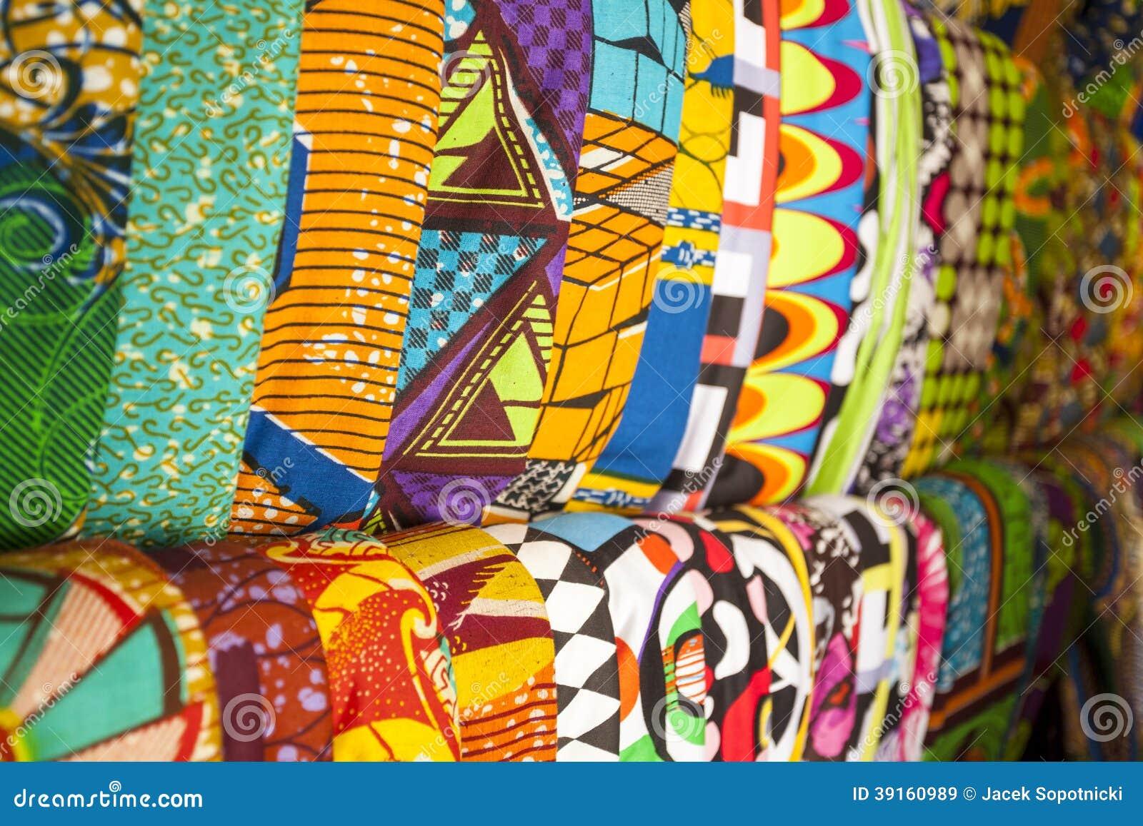 Afrikaanse Stoffen Van Ghana West Afrika Stock Afbeelding