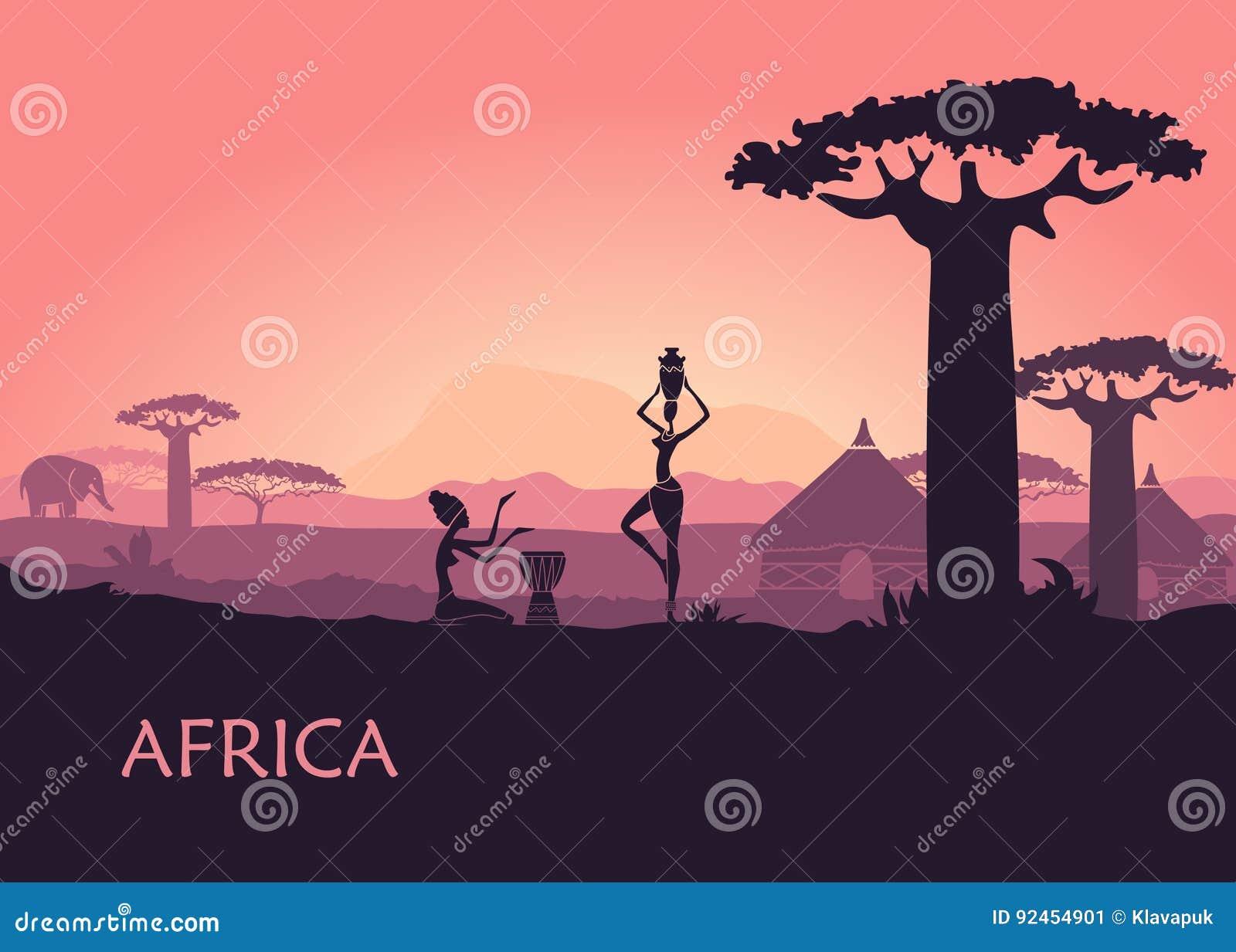 Afrikaanse vrouw op de zonsondergangachtergrond van Kenia Het landschap van Afrika, baobabs en traditionele hutten