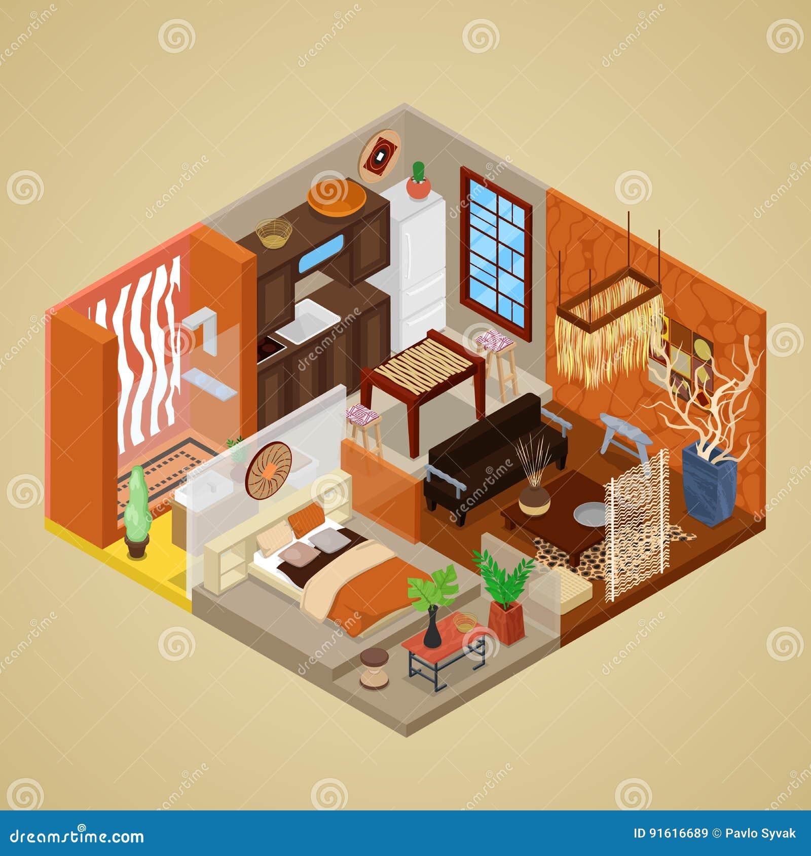 Download Afrikanische Art Innenarchitektur Mit Wohnzimmer Und Küche  Isometrische Flache Illustration 3d Vektor Abbildung