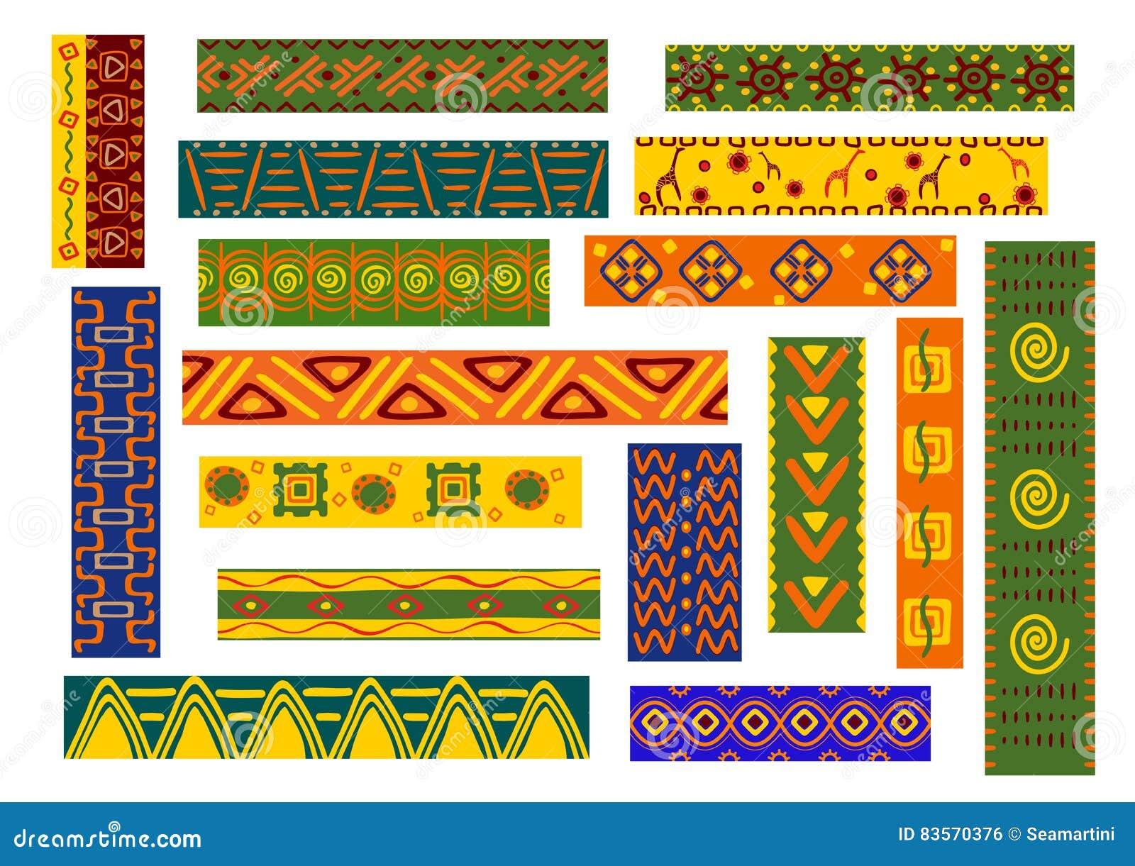 afrikanische ethnische verzierungen und dekorative muster