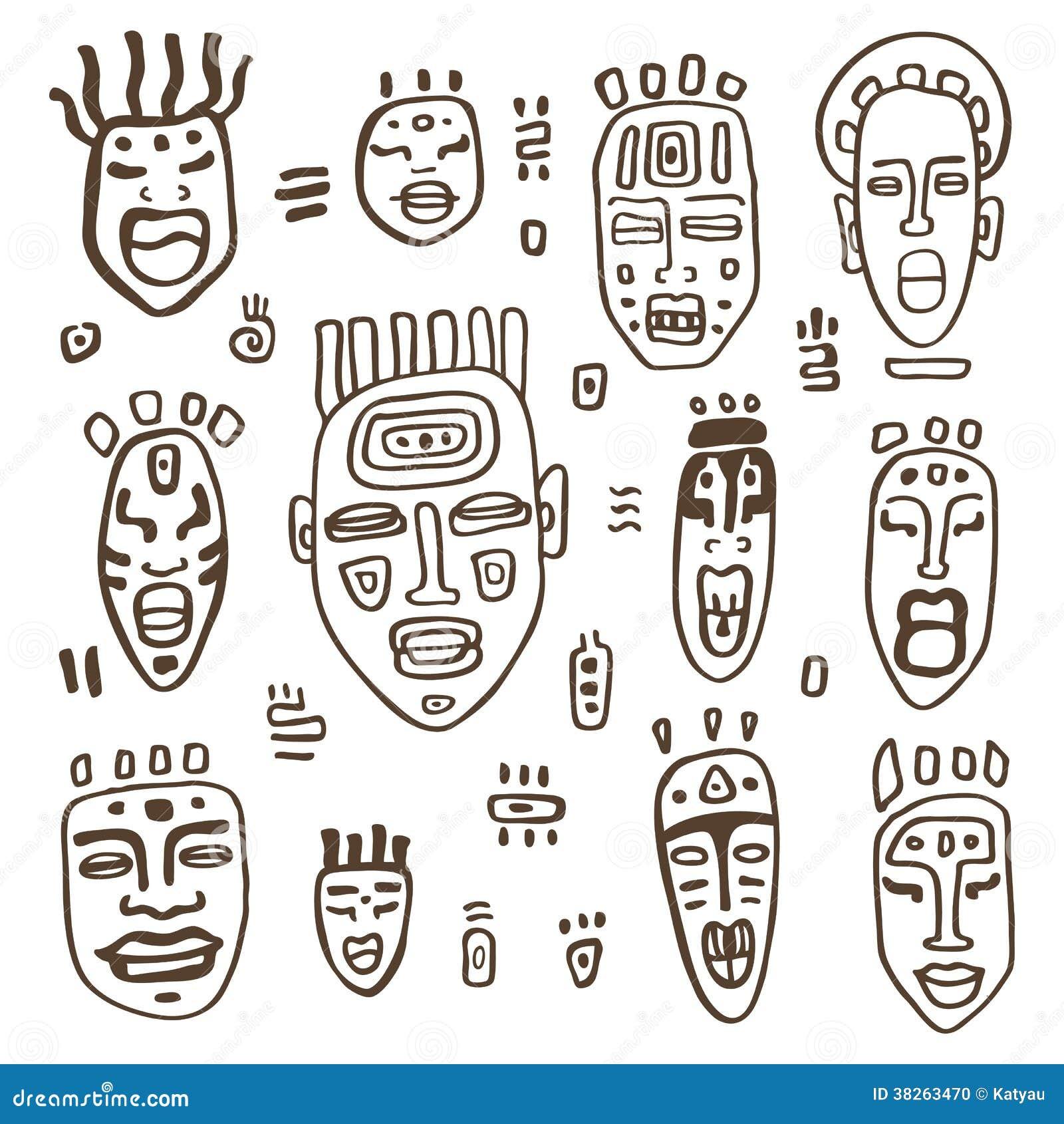 afrikanische masken eingestellt stock abbildung. Black Bedroom Furniture Sets. Home Design Ideas