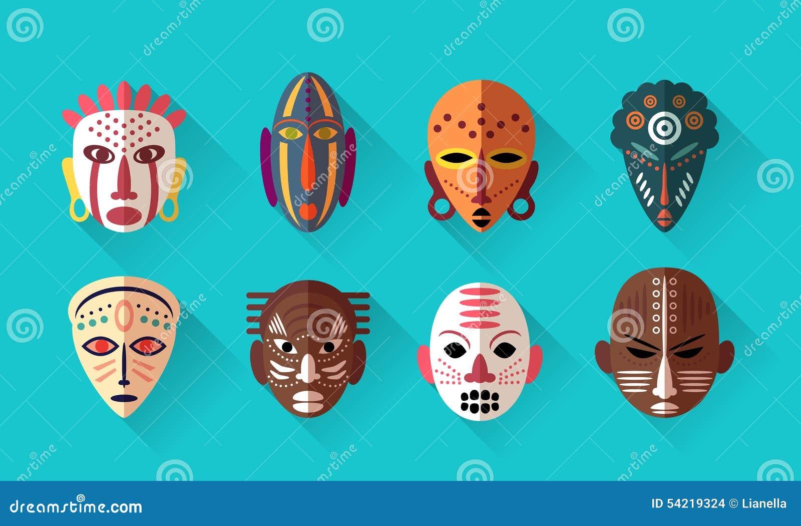 afrikanische masken ikonen vektor abbildung bild 54219324. Black Bedroom Furniture Sets. Home Design Ideas