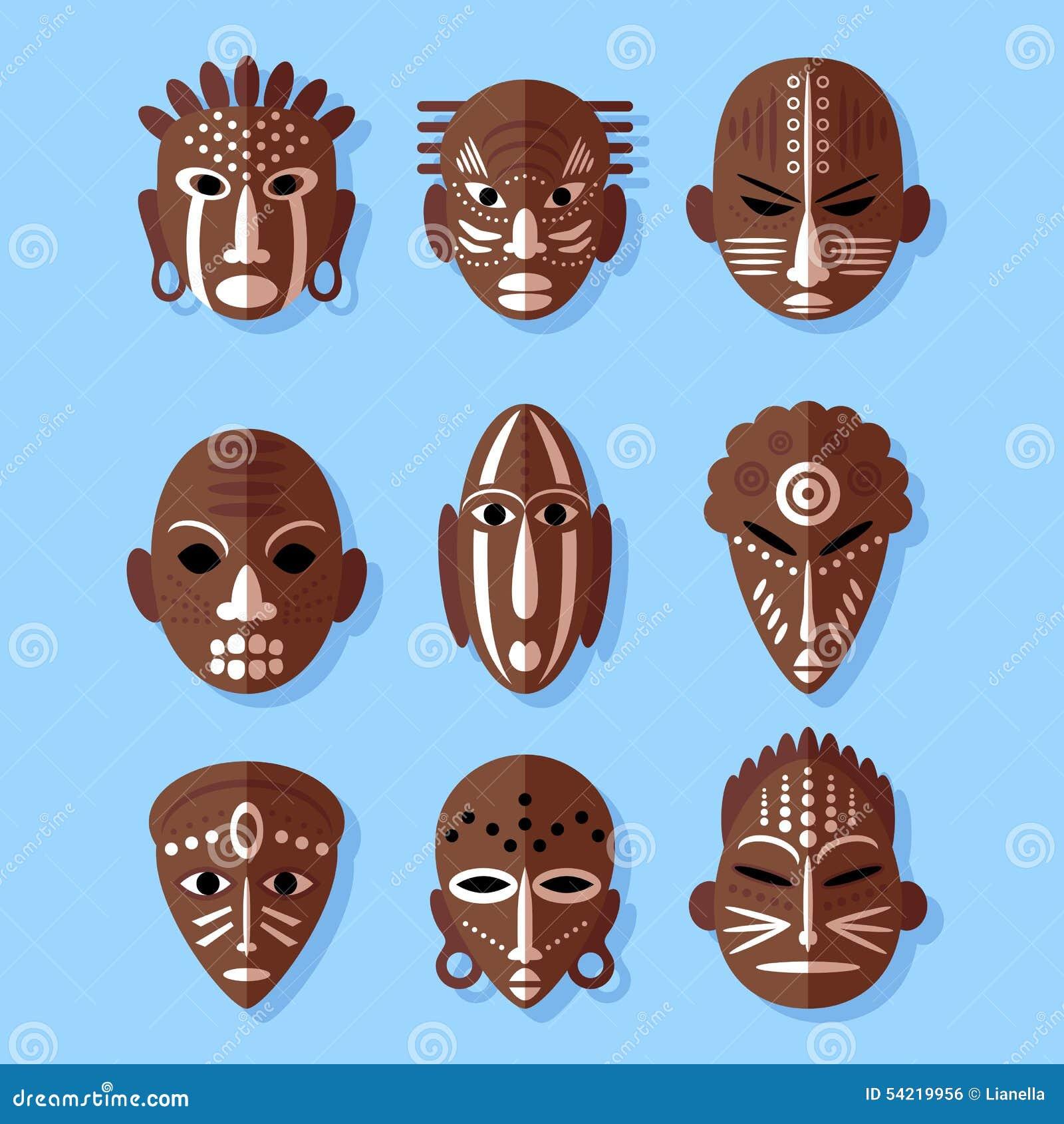 afrikanische masken ikonen vektor abbildung illustration. Black Bedroom Furniture Sets. Home Design Ideas
