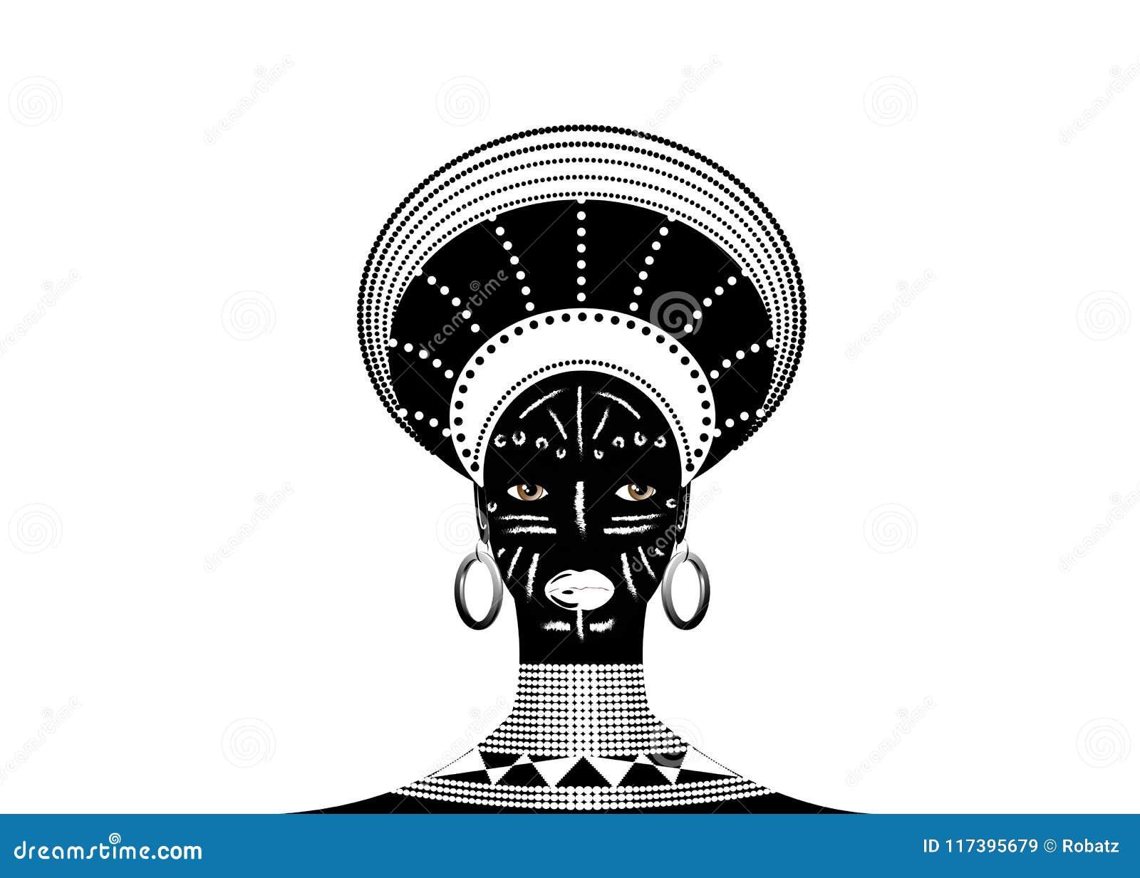 Afrikanischer Stamm kleidet weibliches Zulu, Porträt der netten südafrikanischen Frau Typische Kleidung für Ehefrauen, junges Mäd