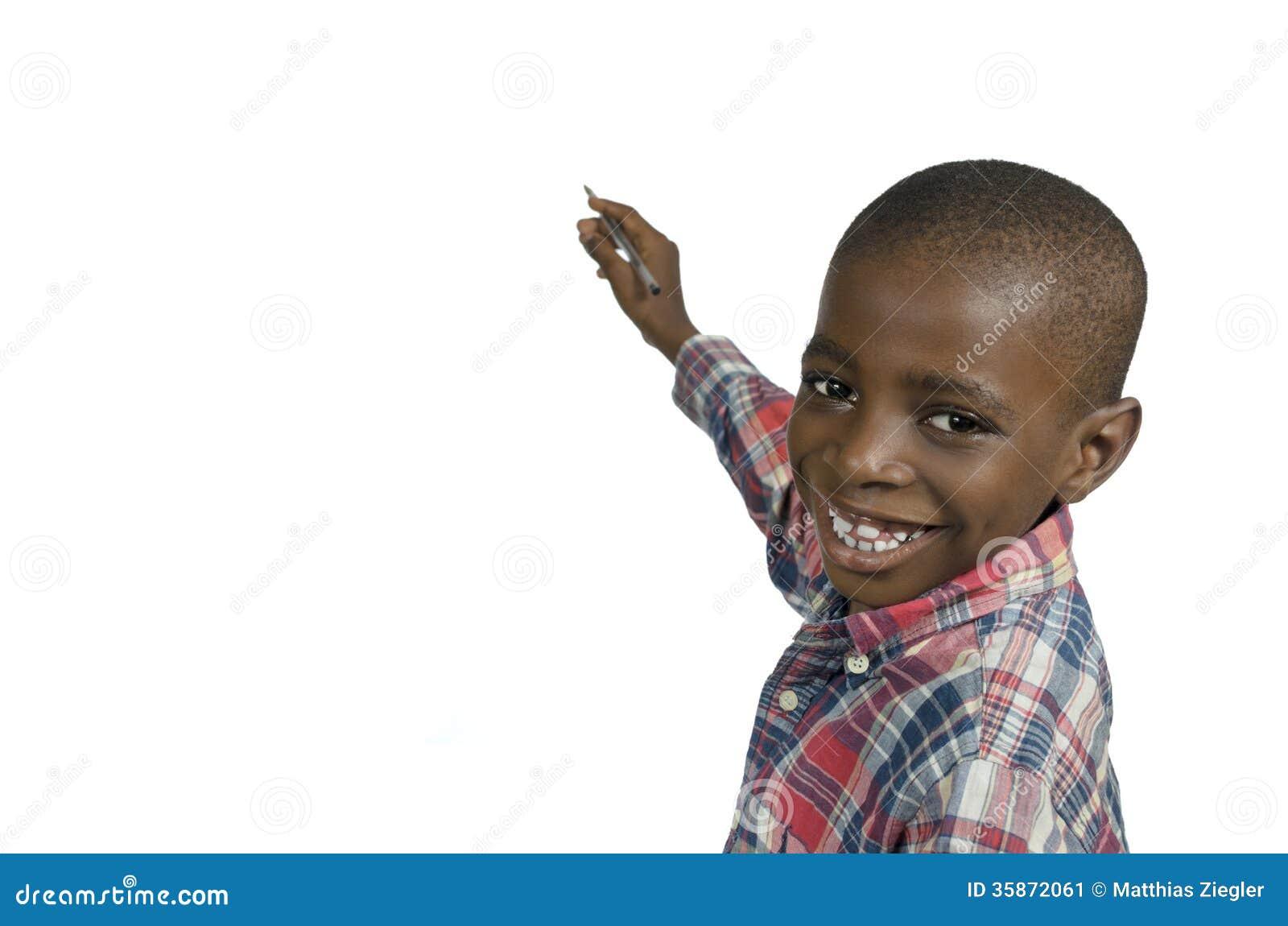 039e1d2e78fb Afrikanisches Jungenschreiben Mit Bleistift, Freiexemplarraum ...