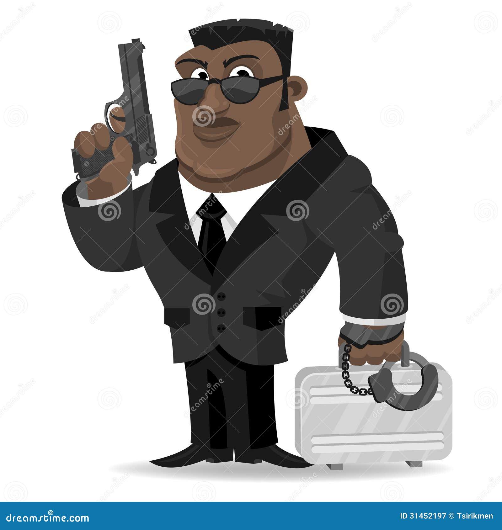 Afrikanisches Mittel hält Gewehr und Koffer