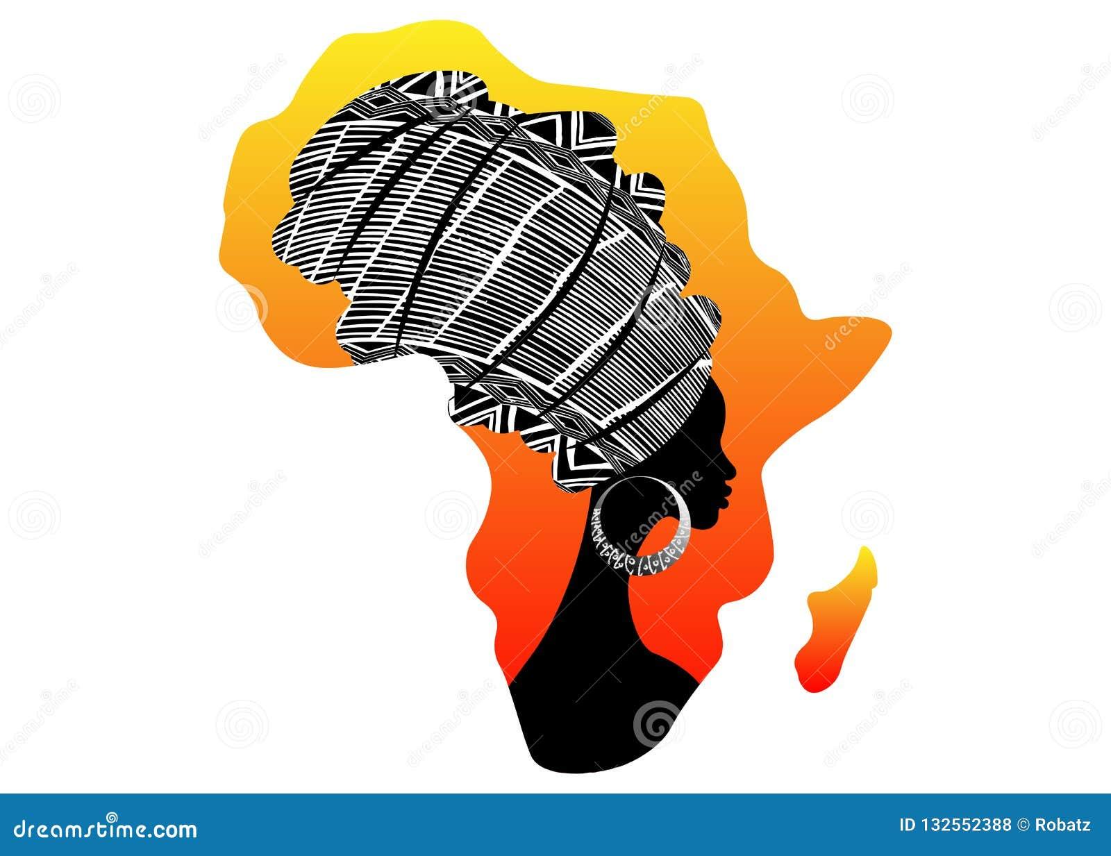 Afrikansk kontinent, härlig afro- kvinna för stående i den traditionella turbanen, afrikansk Kente huvudsjal, traditionell dashik
