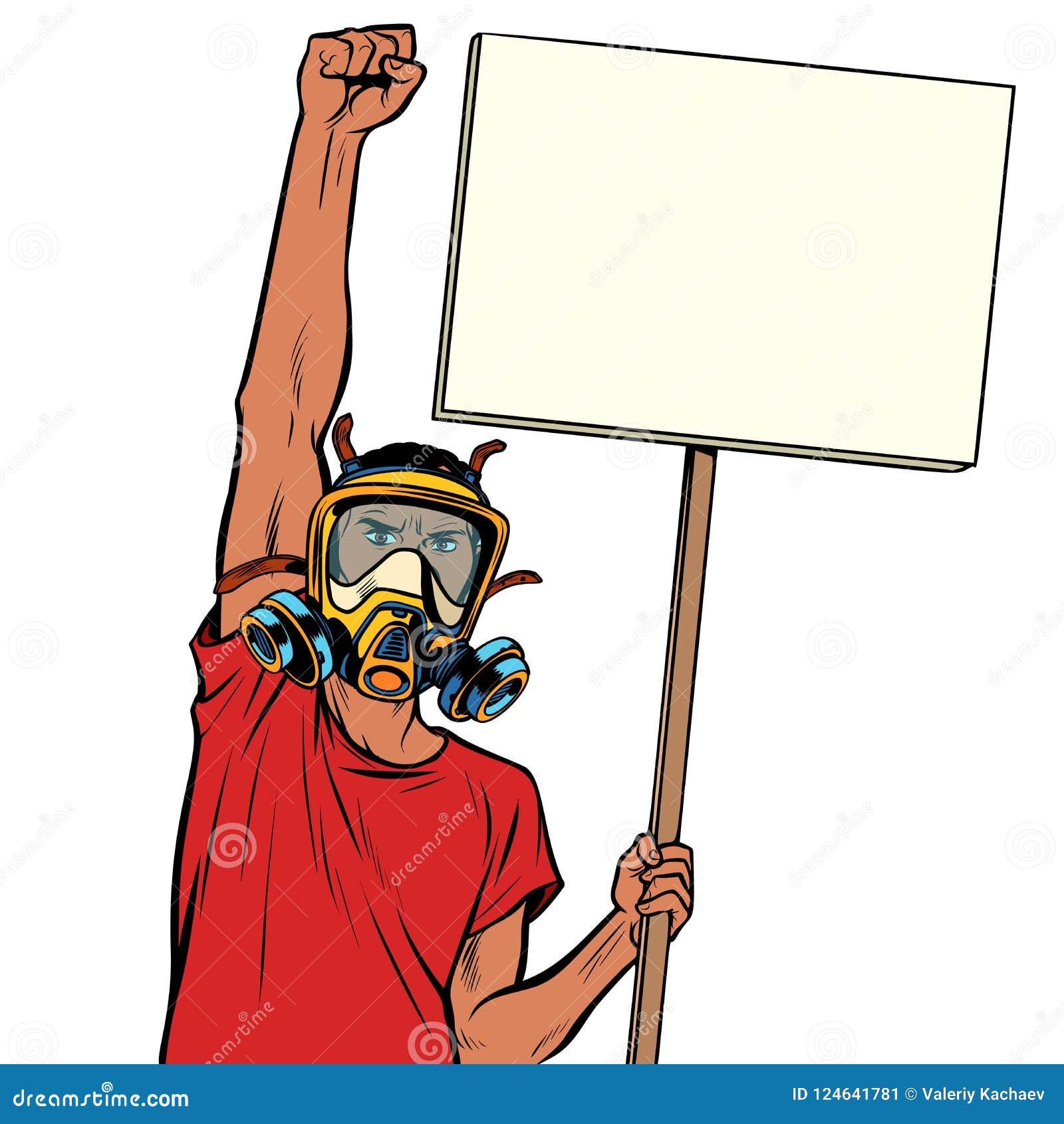 Afrikansk manprotest mot förorenad luft, isolat på vit backg