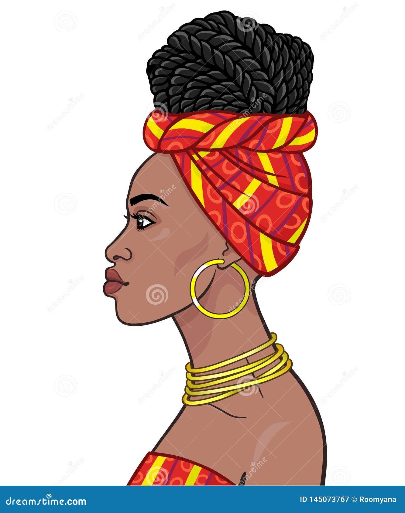 Afrikansk sk?nhet: animeringst?ende av den h?rliga svarta kvinnan i en turban och Afro--fl?tade tr?dar f?r frisyr