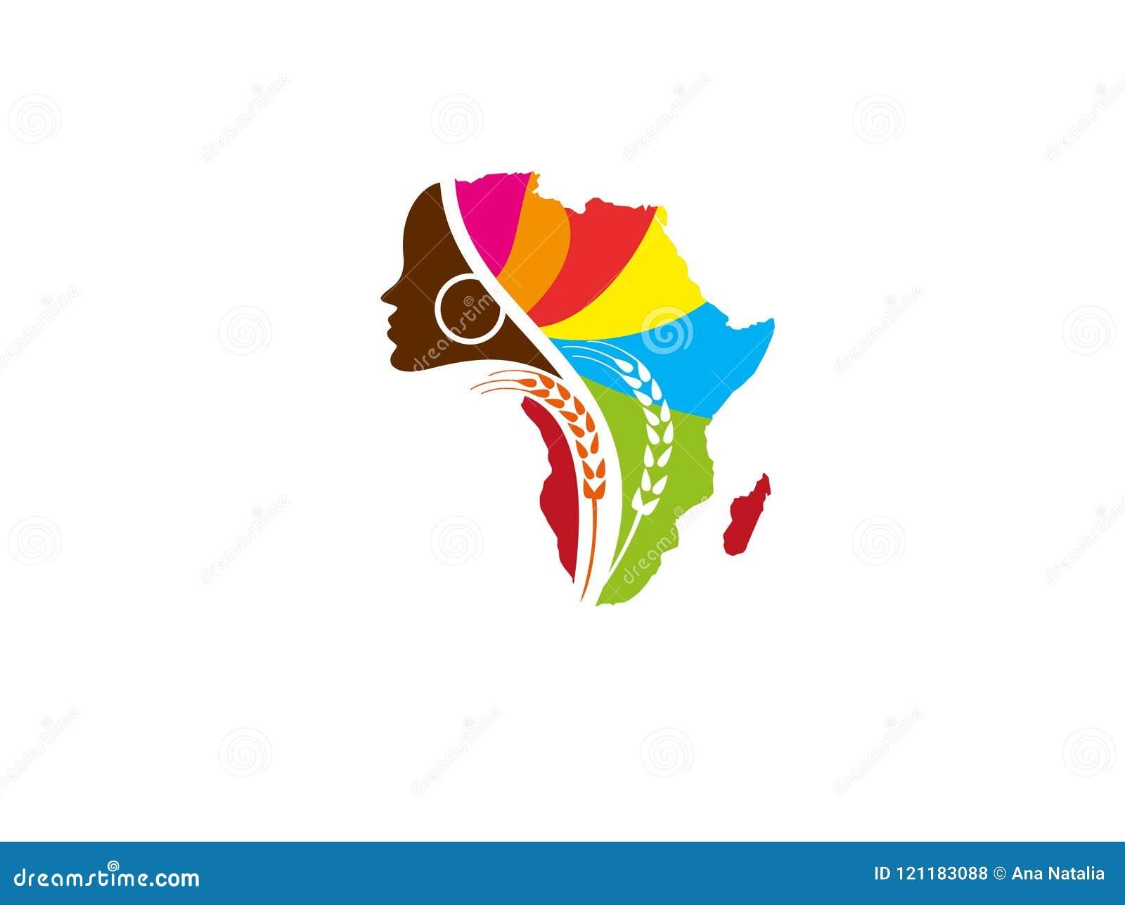 Afrikansk vektor för design för kvinnalantgårdlogo