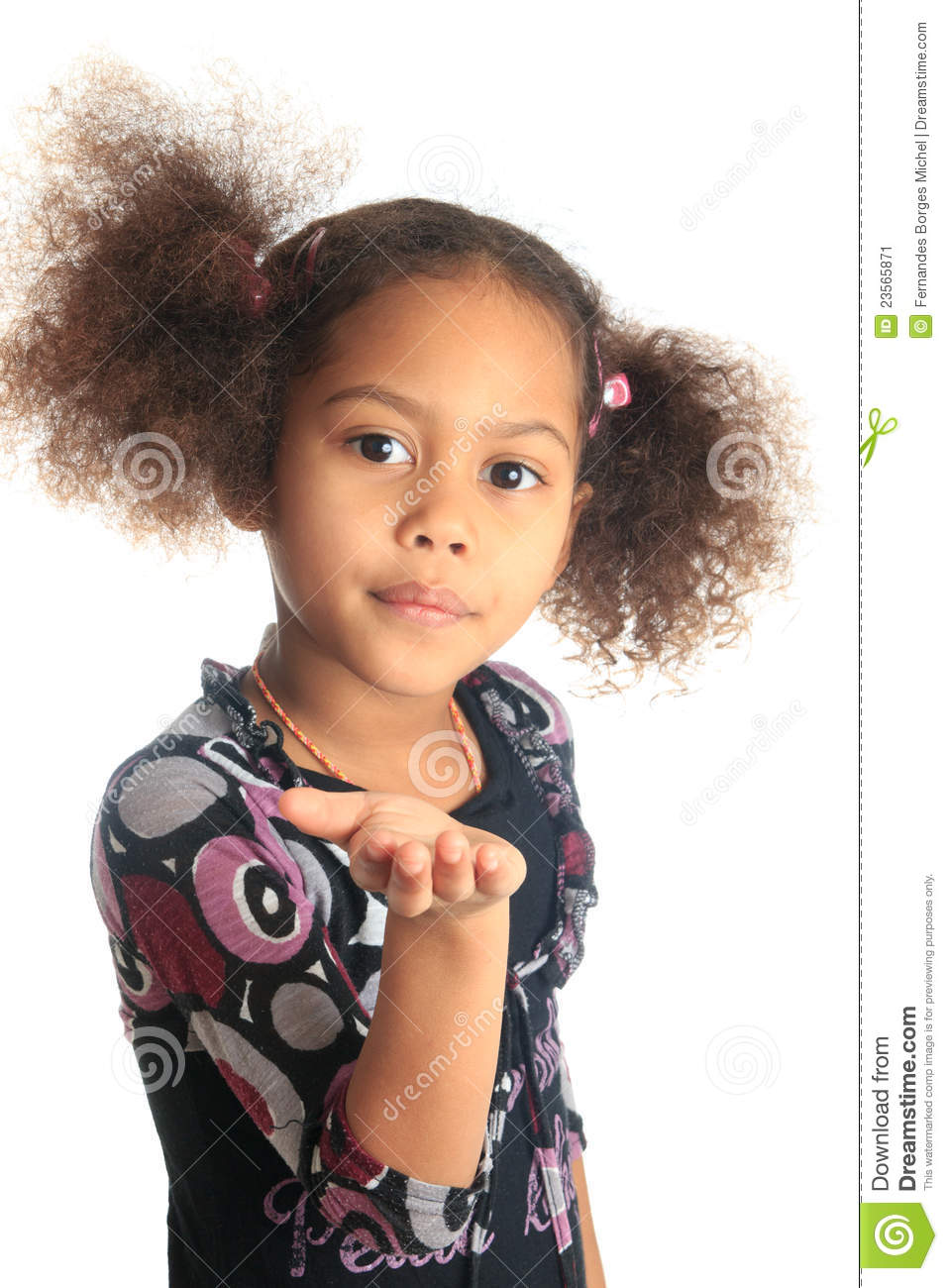 Afro American Beautiful Girl Children With Black C Stock Image - Image ...