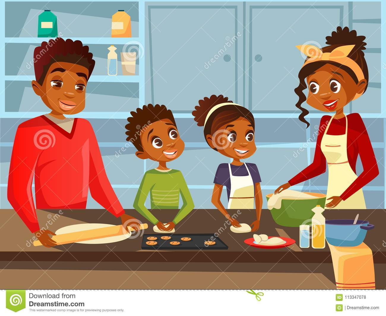 Afro American black family cooking together at kitchen vector flat cartoon illustration of African parents and children