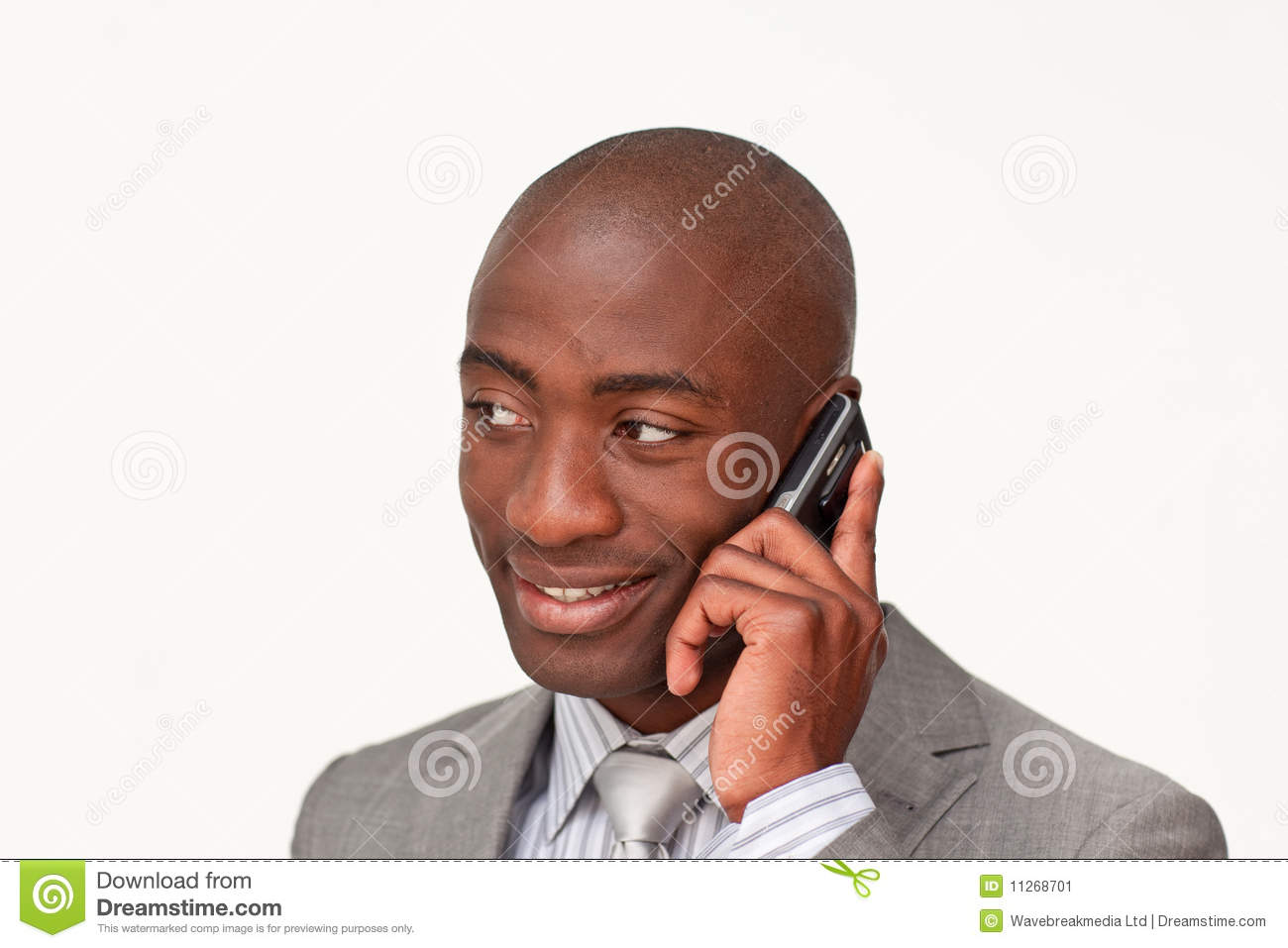 Afro-American businessman on mobile phone