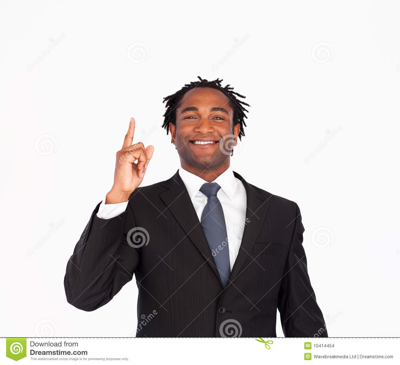 handsome happy business man pointing upwards royalty free