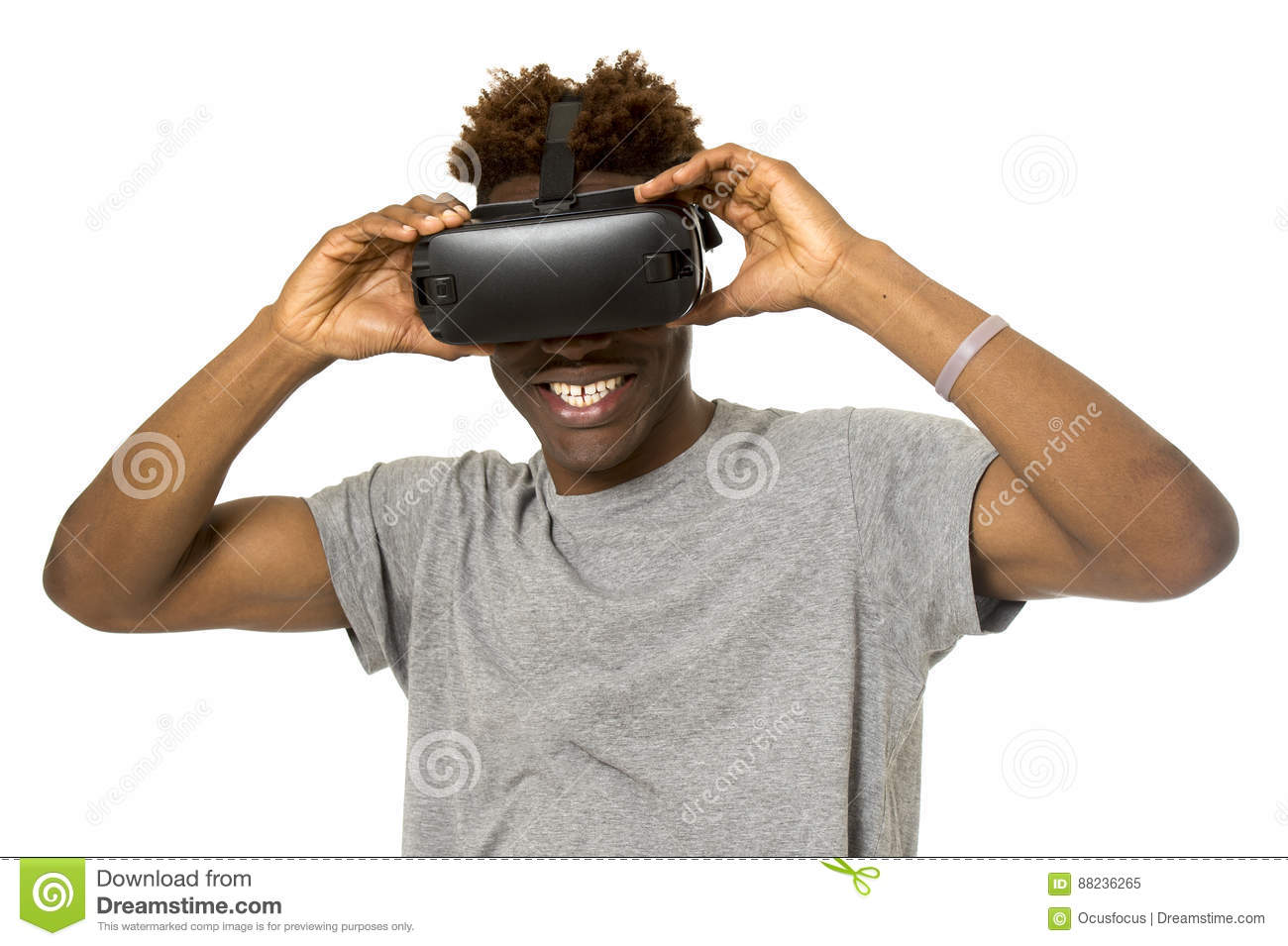 Afro american man wearing virtual reality vr 360 vision goggles enjoying video game