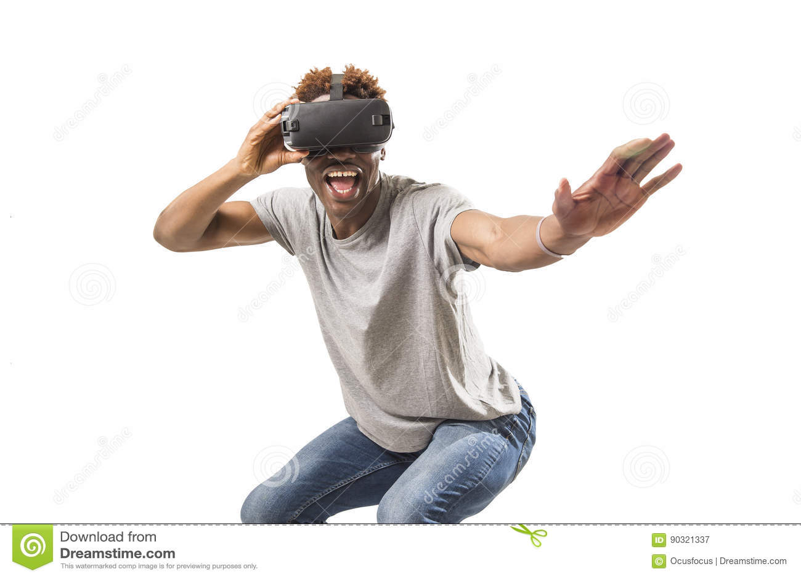 Afro american man wearing virtual reality vr 360 vision goggles enjoying video game