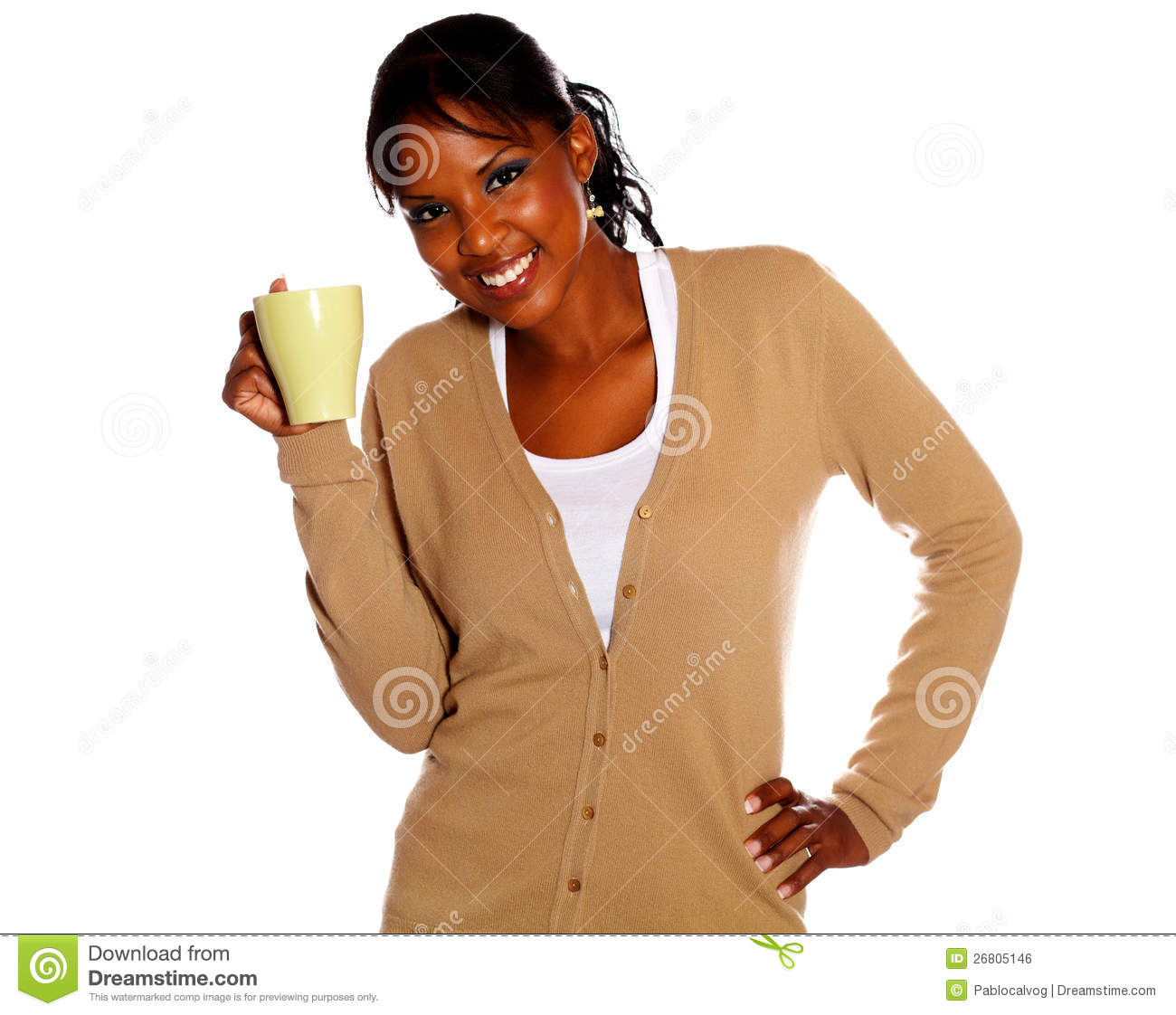 Afro-american young woman holding a mug