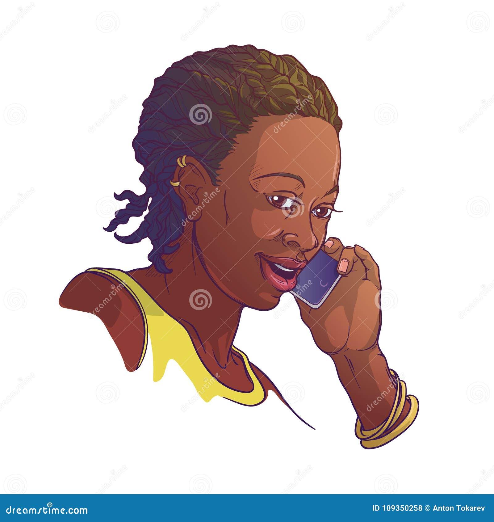 Afro-Amerikaanse jonge vrouw die met cornrowvlechten op de telefoon en het glimlachen spreekt Gekleurde lineaire schets die op wi