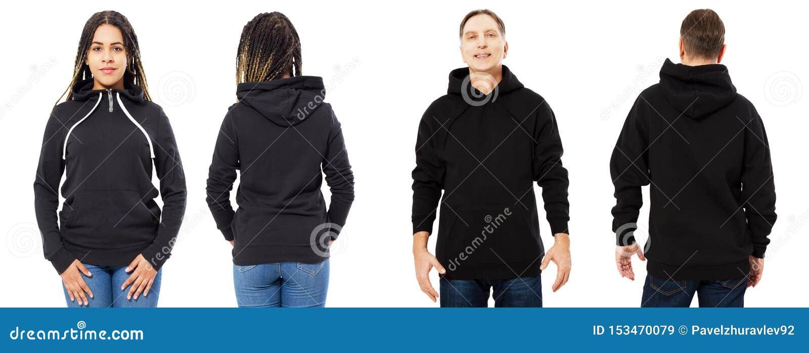 Afro- amerikansk flicka i den svarta hoodieframdelen och tillbaka sikten, man i svart tröjauppsättningcollage som isoleras på vit
