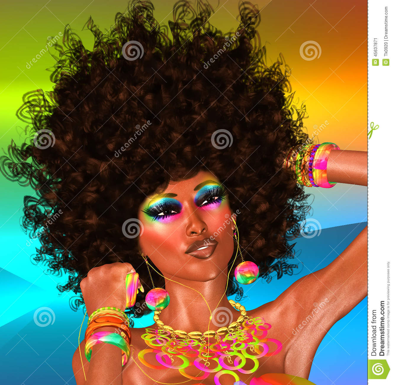afro beautiful face woman stock illustration   image 45637871