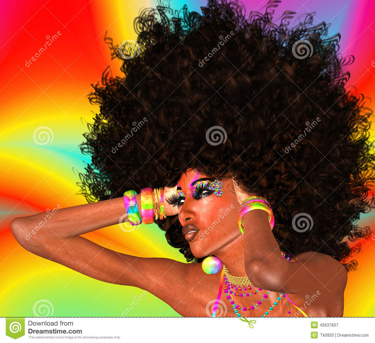 Afro Girl,Abstract Background Stock Illustration