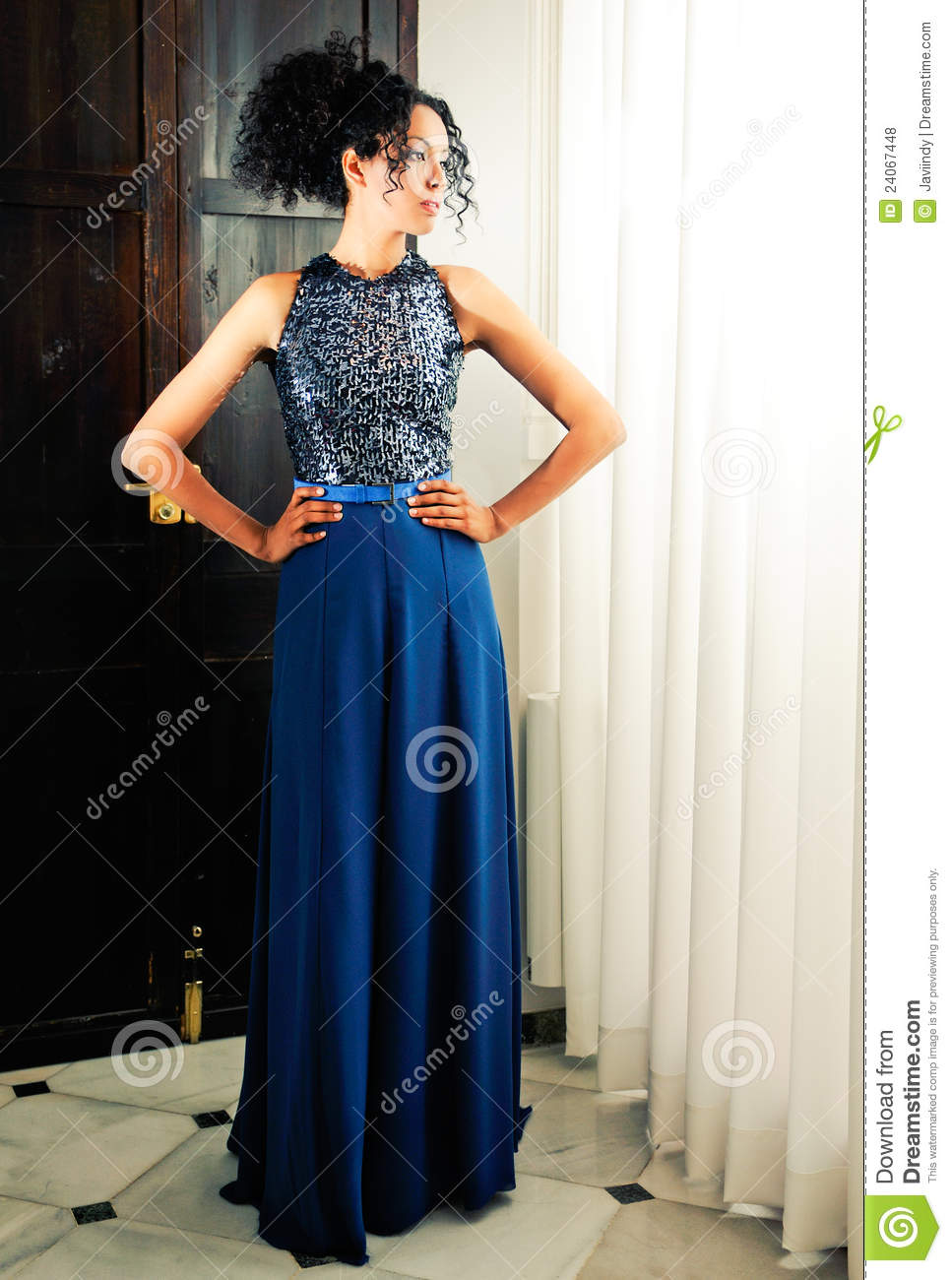 Afro Hair Woman, Model Of Fashion, With Blue Dress Royalty Free Stock Photos - Image: 24067448