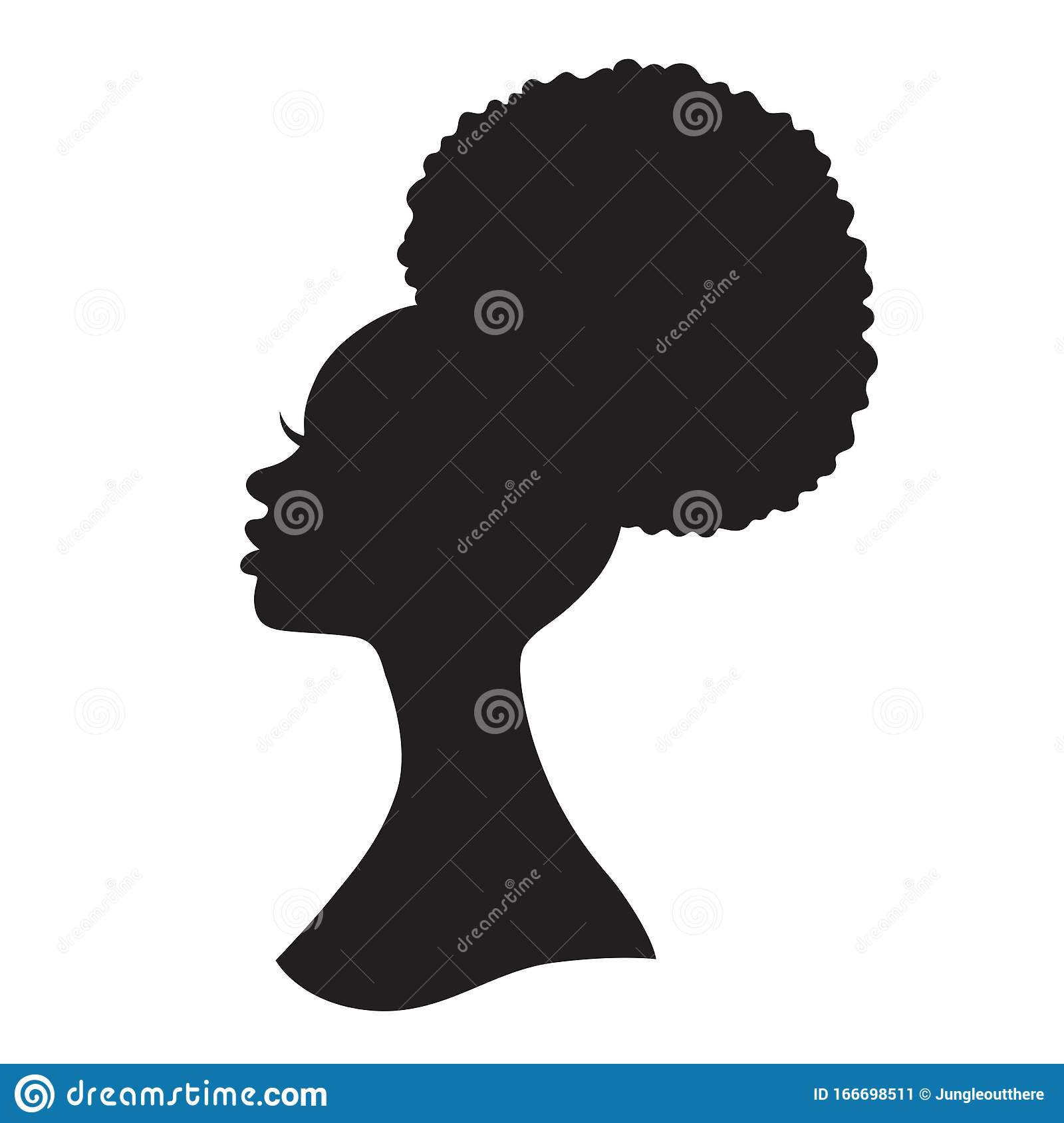 Black Woman Afro Puff Drawstring Ponytail Stock Vector Illustration Of Pretty Africa 166698511