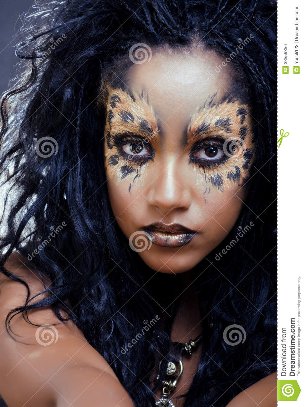 afro woman with leopard make up stock photo image 33559856. Black Bedroom Furniture Sets. Home Design Ideas