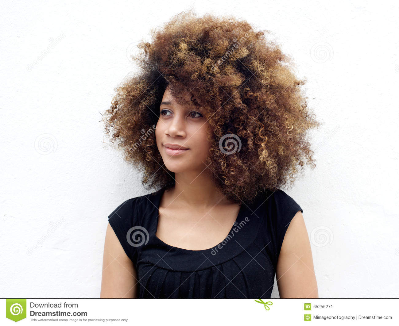 Afro Hair Vector Afro woman looking awa...