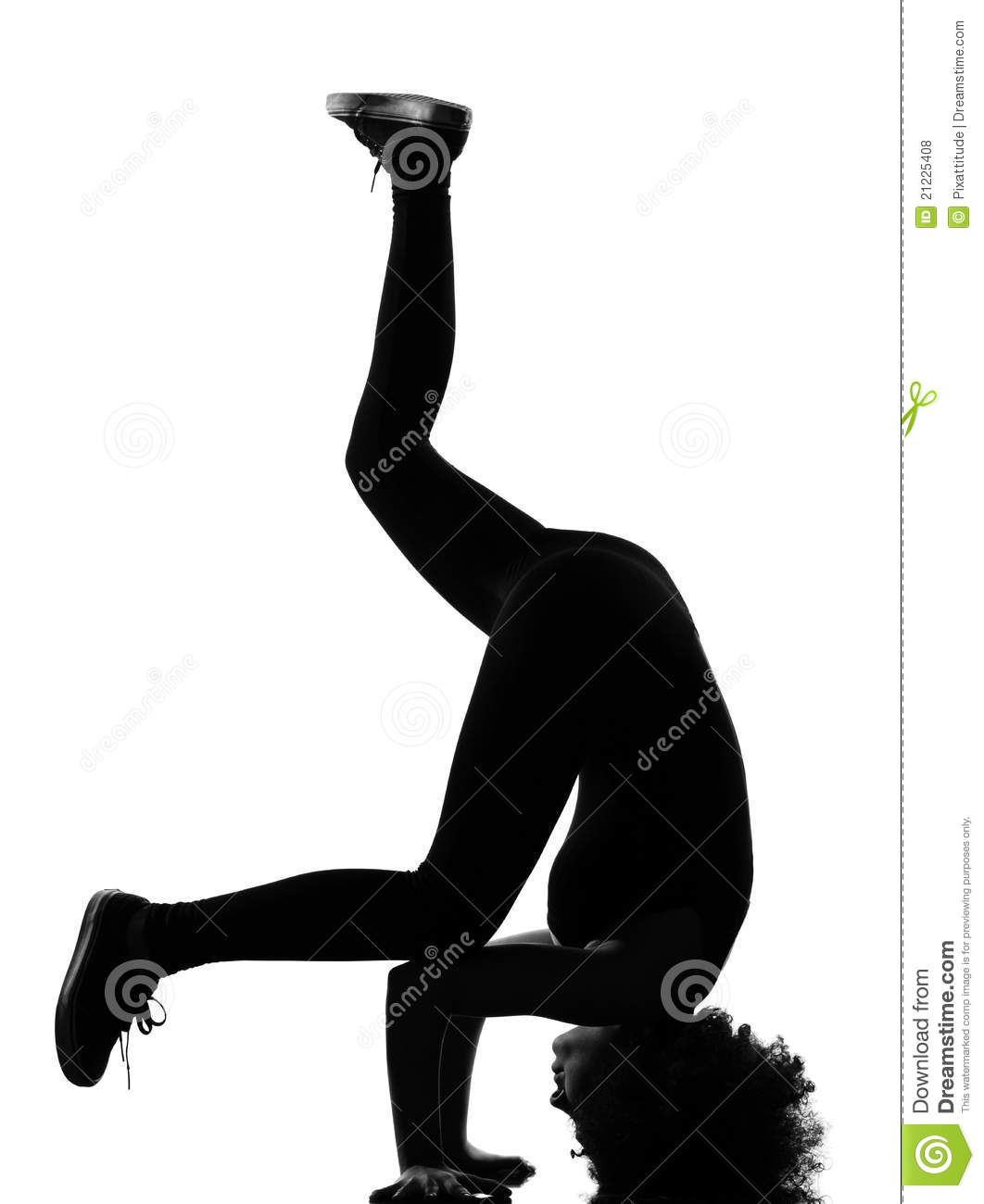Afro Woman Silhouette Breakdance Headstand Stock Photo