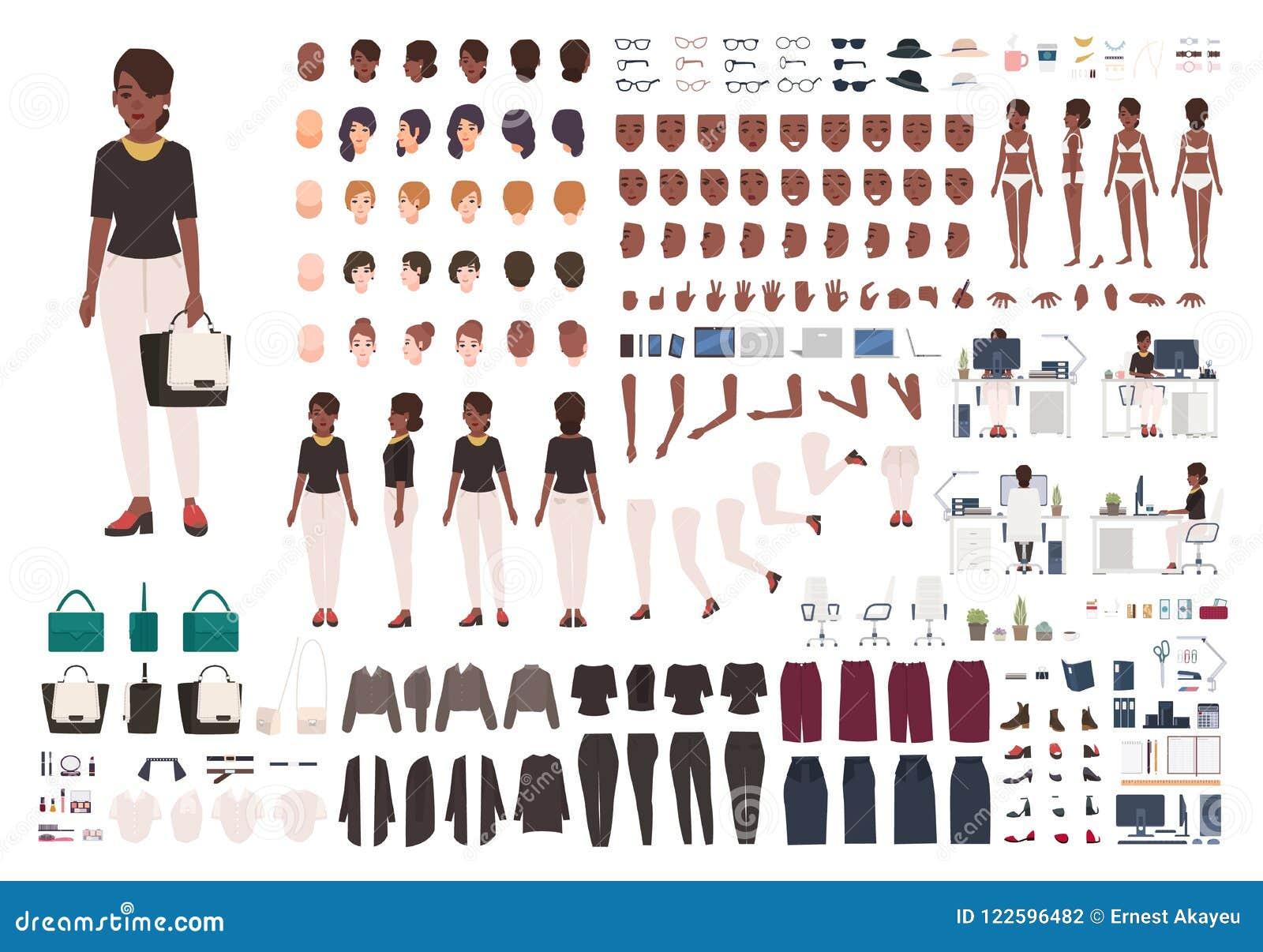 Afroamerikanerfrauensekretär, Manager oder Büroassistent DIY oder Animationsausrüstung Satz Körperteile der weiblichen Figur