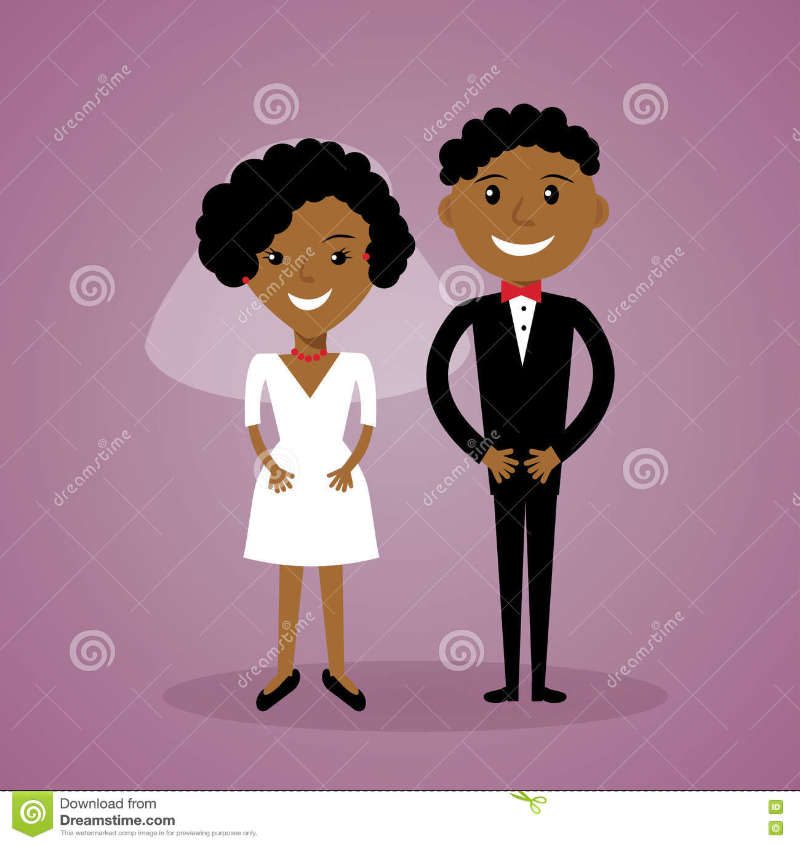 Download Afroe Amerikanisch Braut Und Bräutigam Der Karikatur Nette  Schwarze Hochzeitspaare In Der Flachen Art